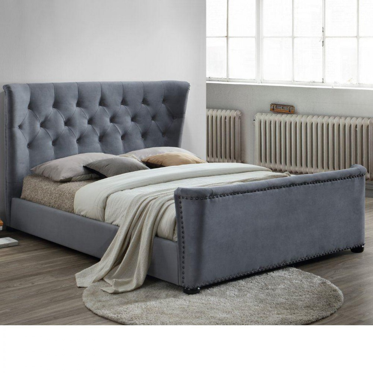 Barkley Grey Velvet Fabric Winged Bed
