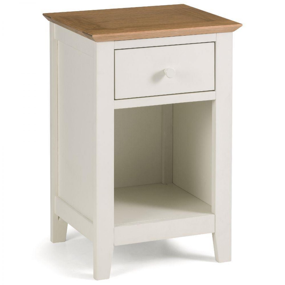 Salerno Ivory and Oak Wooden 1 Drawer Bedside Table