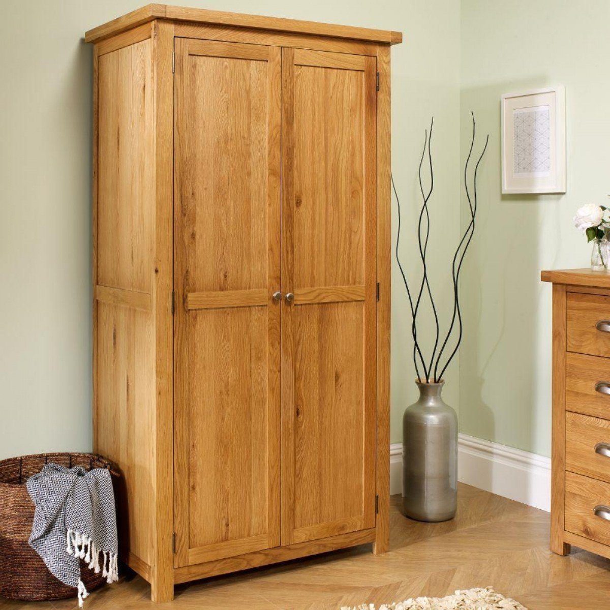 Woburn Oak Wooden 2 Door Wardrobe