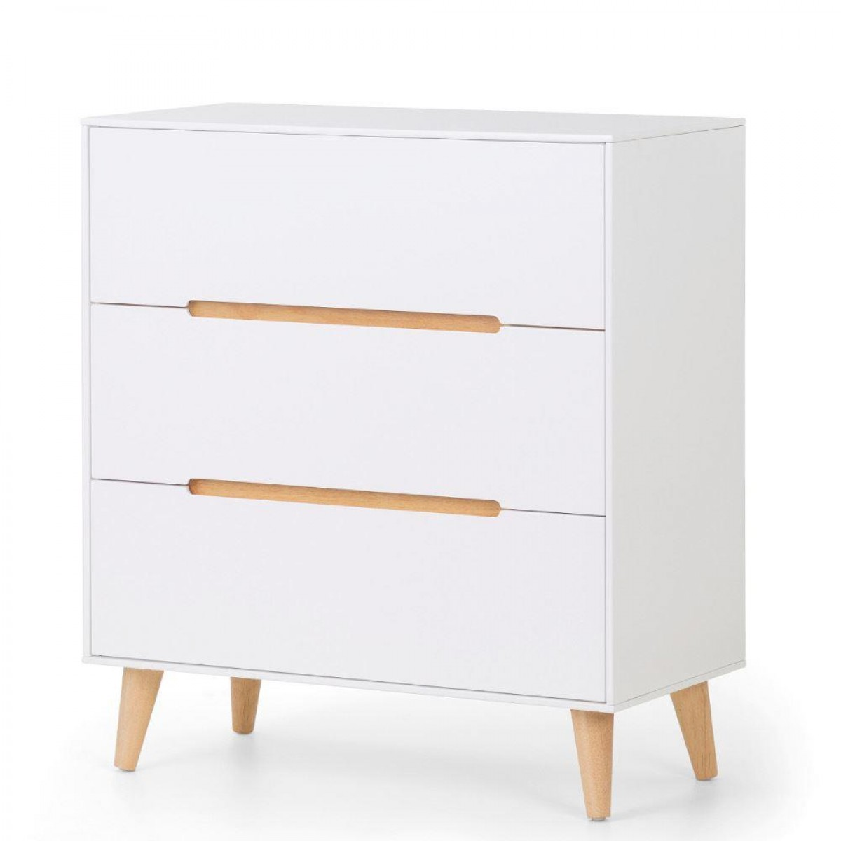 Alicia White and Oak 3 Drawer Wooden Chest