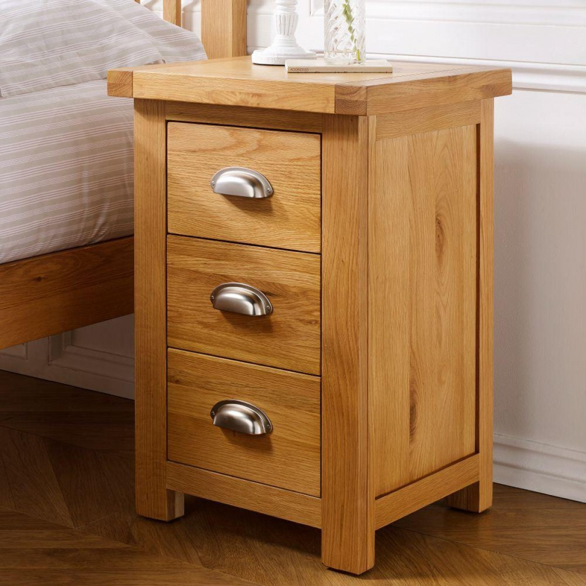 new arrival a7930 cb2b5 Woburn Oak Wooden 3 Drawer Large Bedside Table