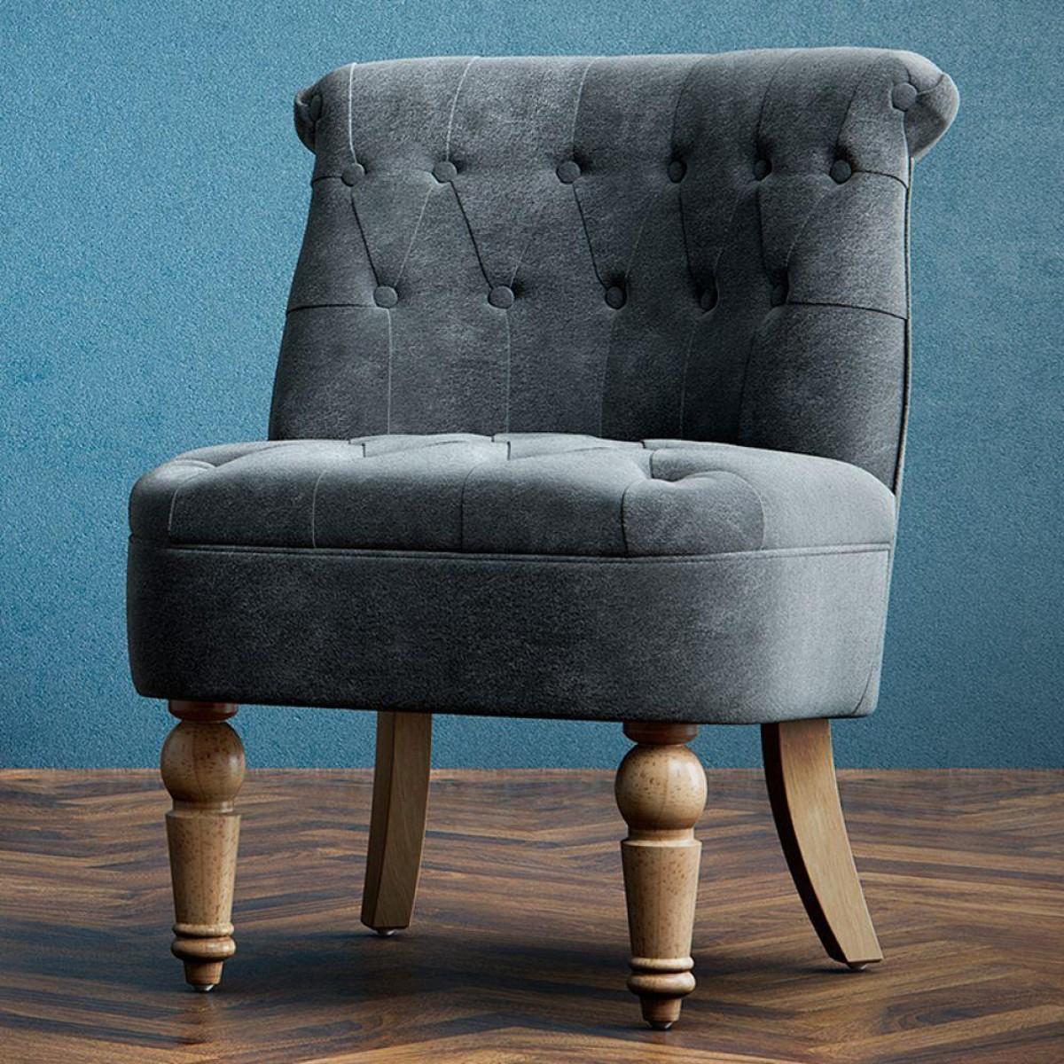 Grace Grey Velvet Fabric Snuggle Chair