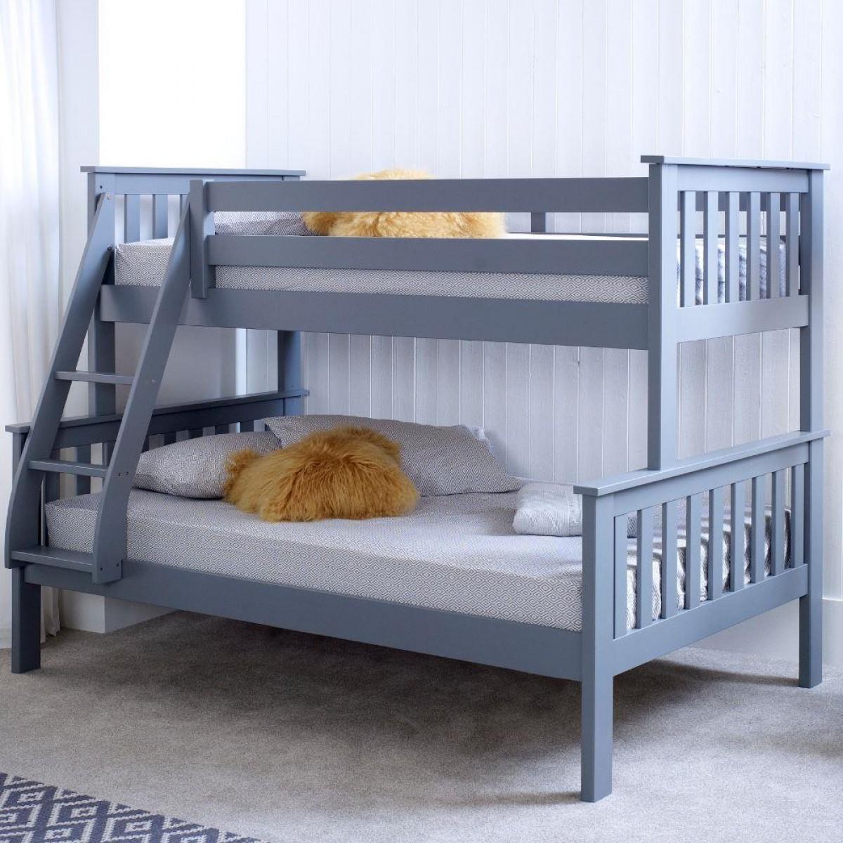 Admirable Atlantis Grey Wooden Triple Sleeper Bed Frame Machost Co Dining Chair Design Ideas Machostcouk