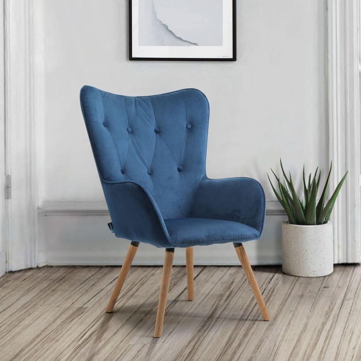 Willow Midnight Blue Velvet Fabric Chair