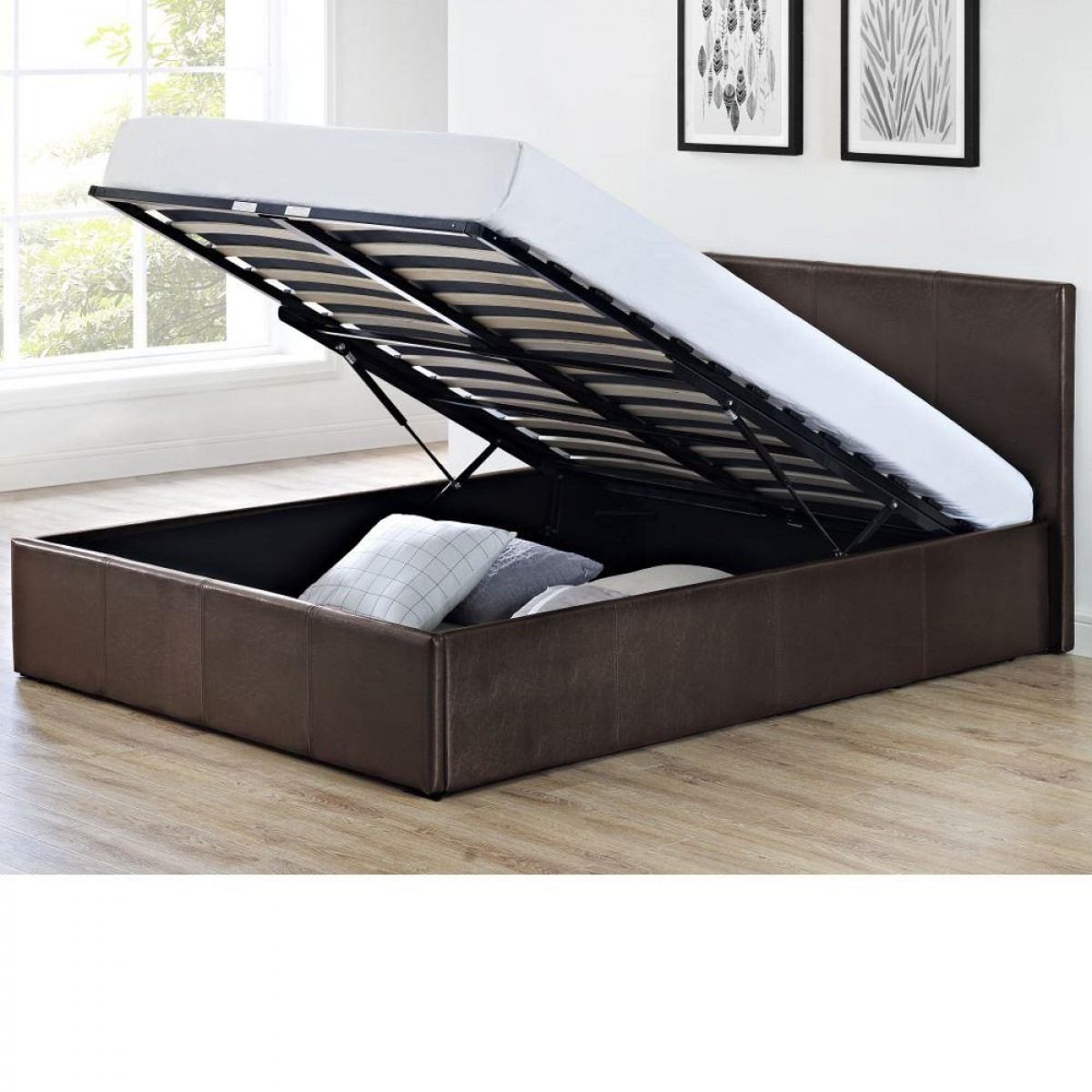 Cosmo Brown Faux Leather Ottoman Storage Bed