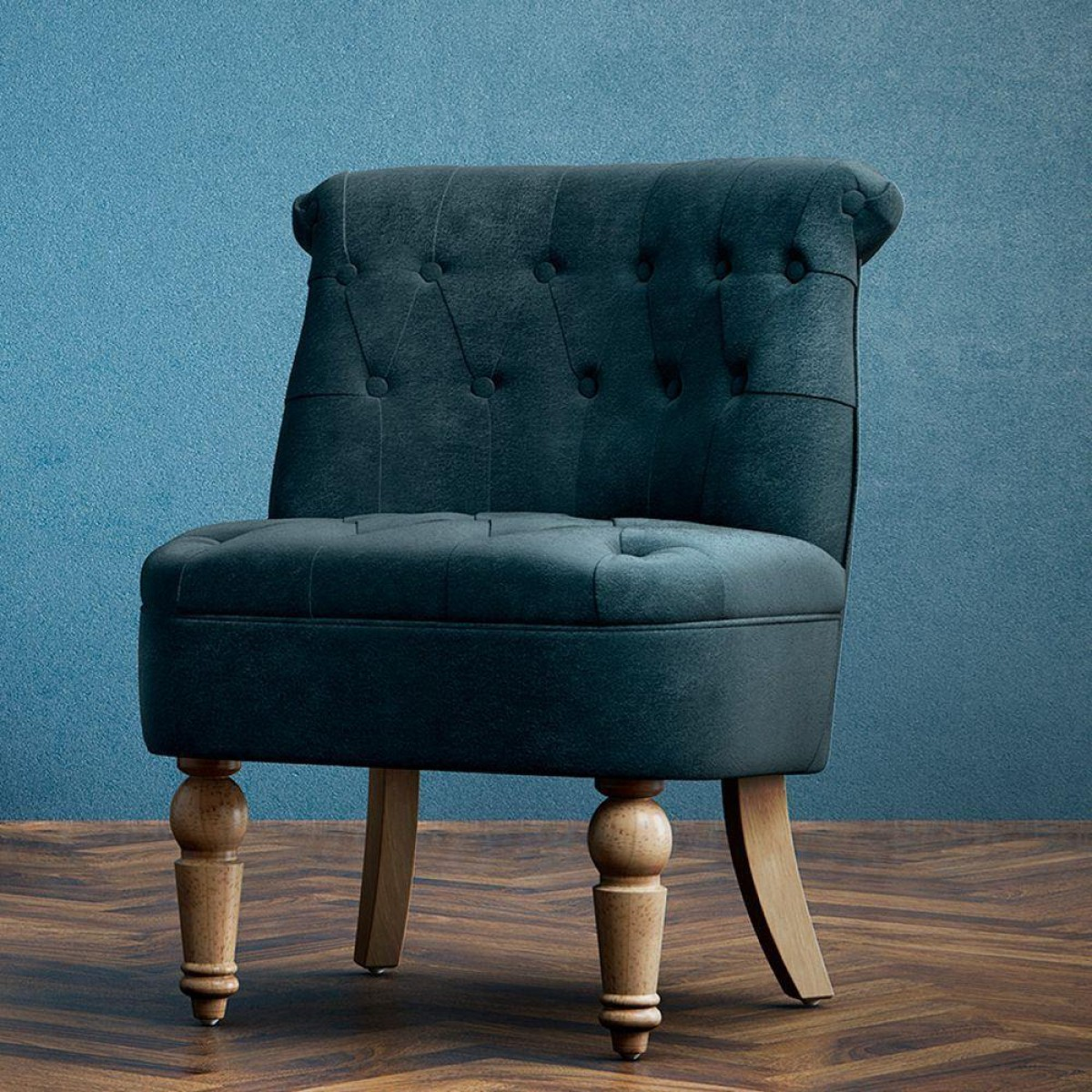 Grace Midnight Blue Fabric Snuggle Chair