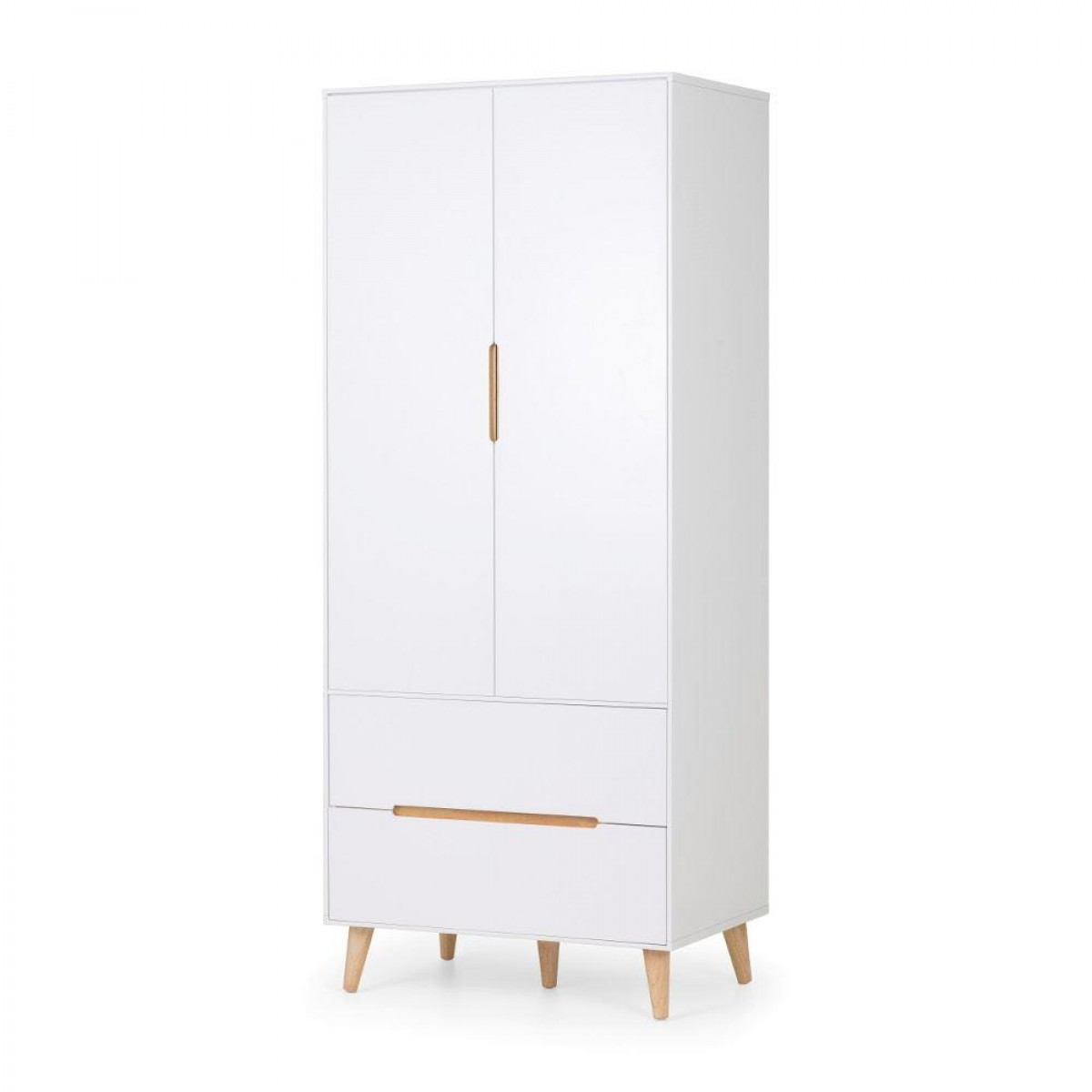 Alicia White and Oak 2 Door Wooden Combination Wardrobe