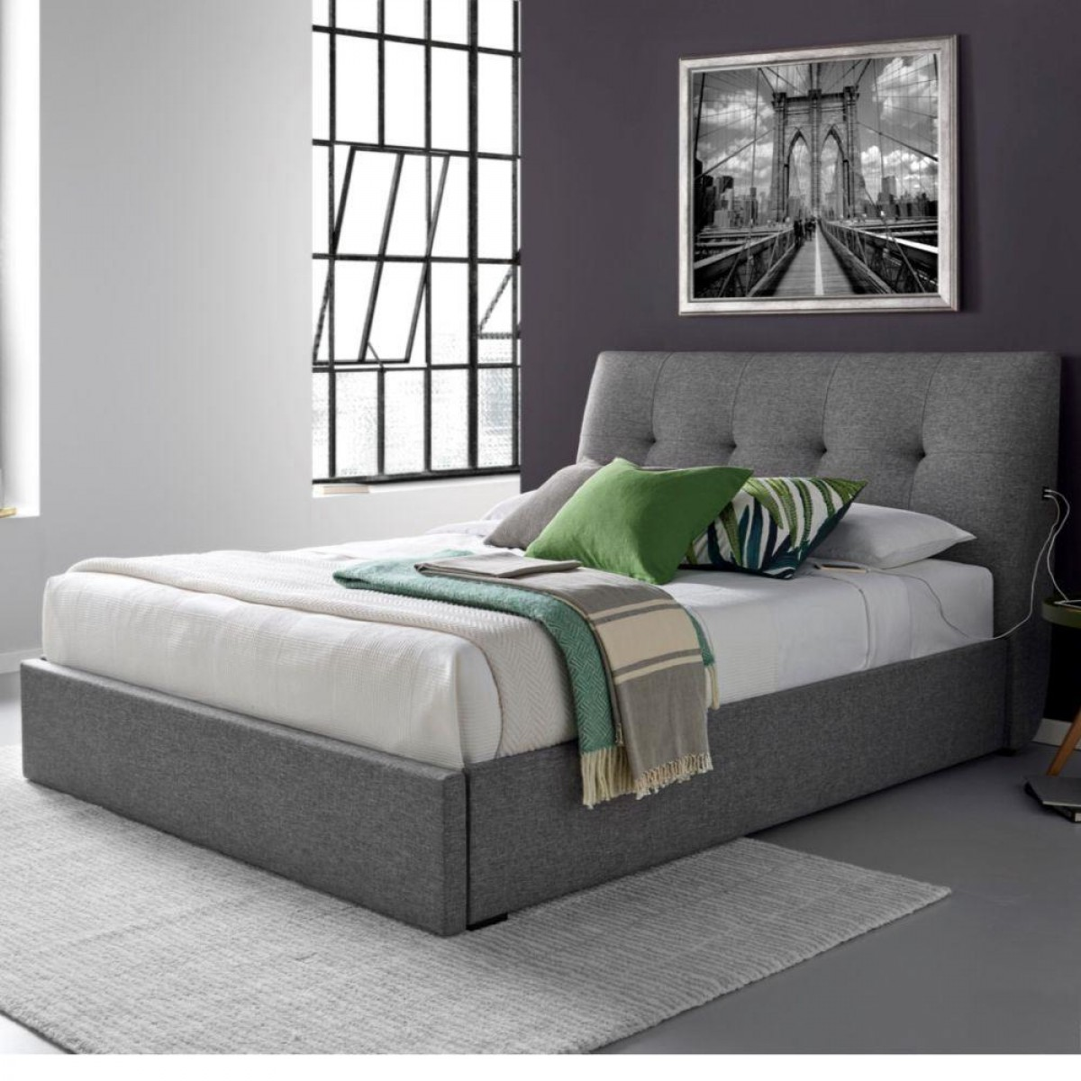Gosforth Gabon Grey End Drawer Storage Bed with 2 USB ports