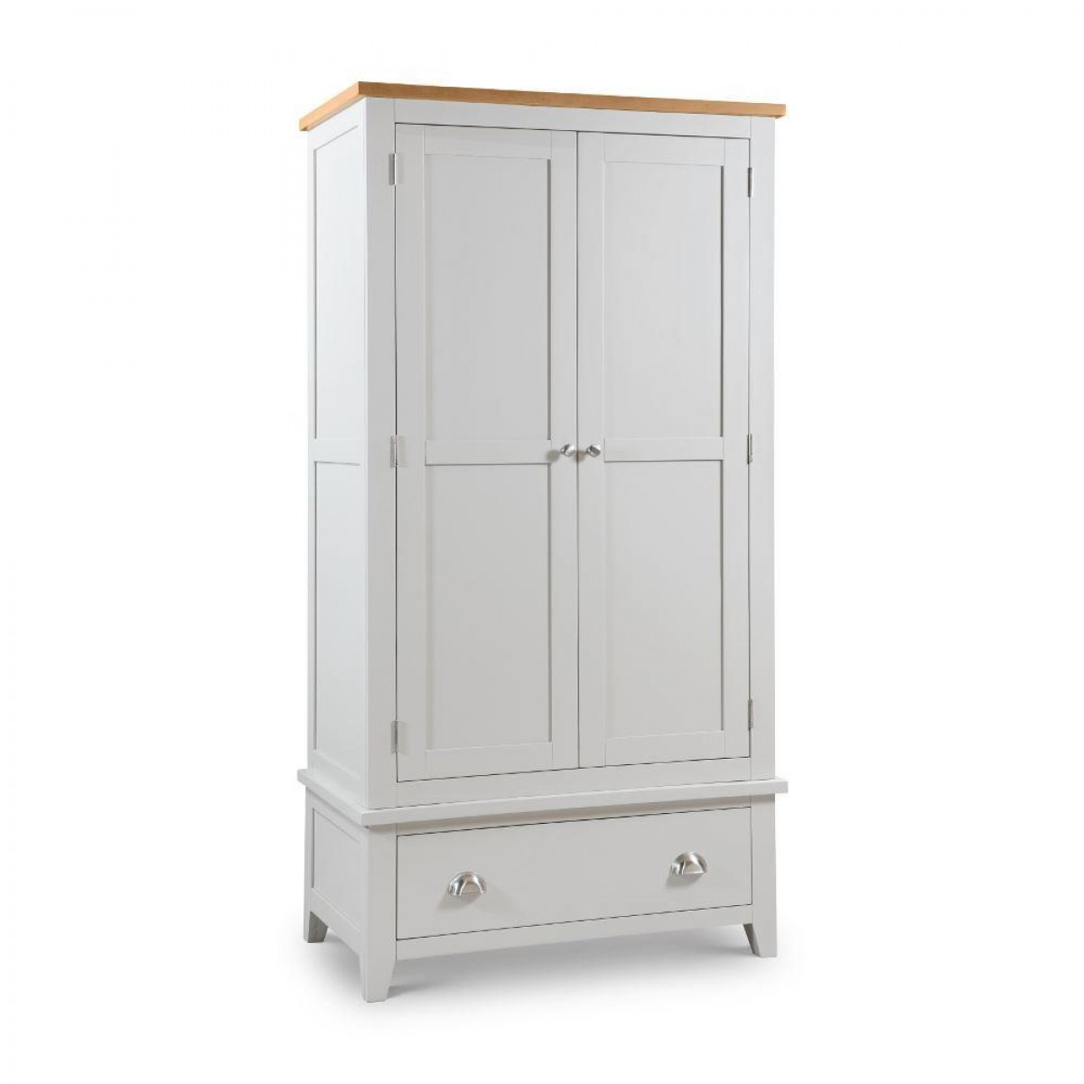 Richmond Grey and Oak 2 Door Wooden Combination Wardrobe