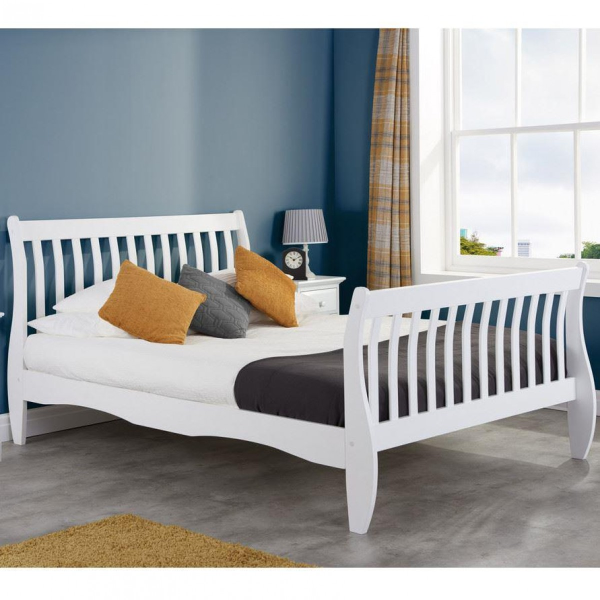 Belford White Wooden Sleigh Bed
