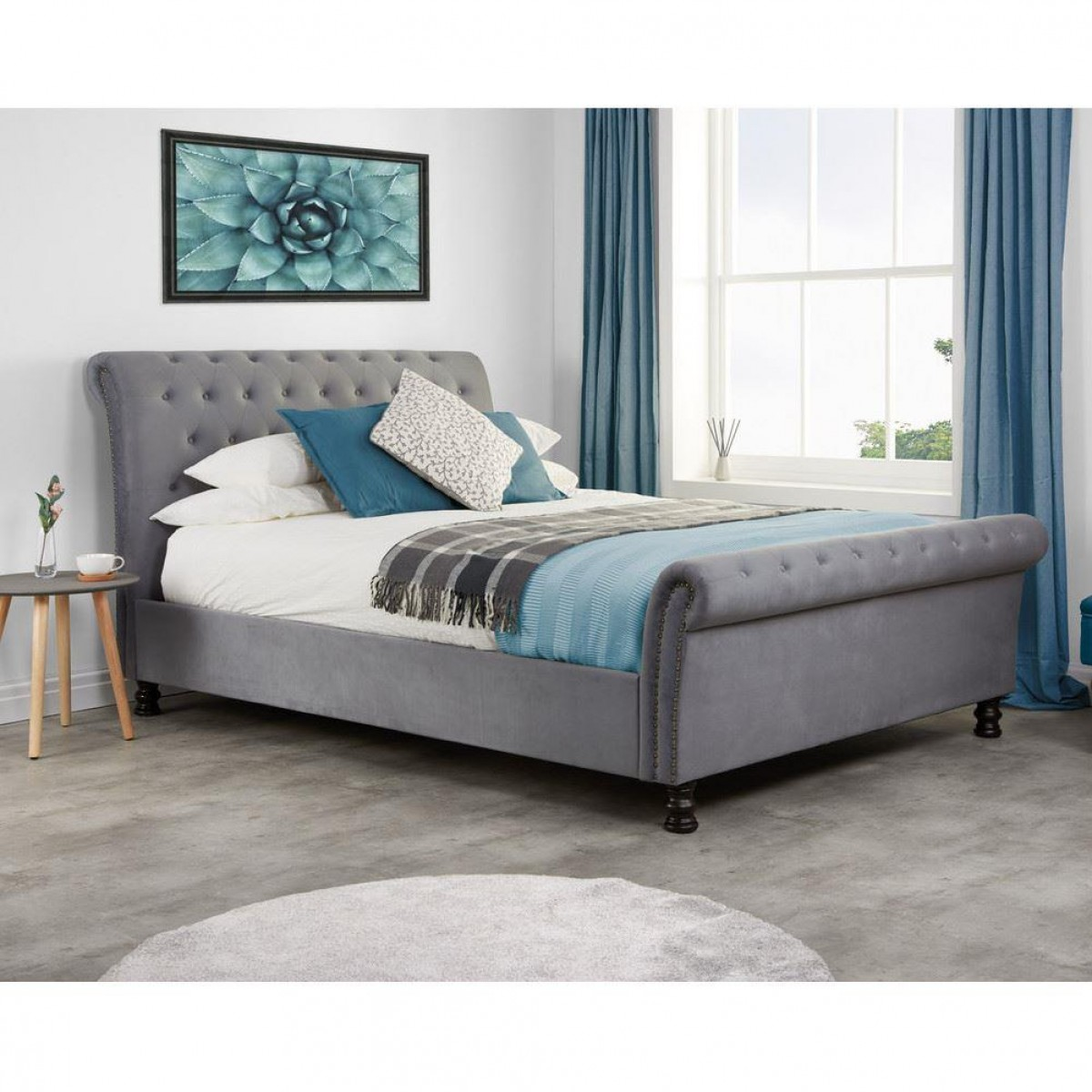 Opulence Grey Velvet Fabric Scroll Sleigh Bed