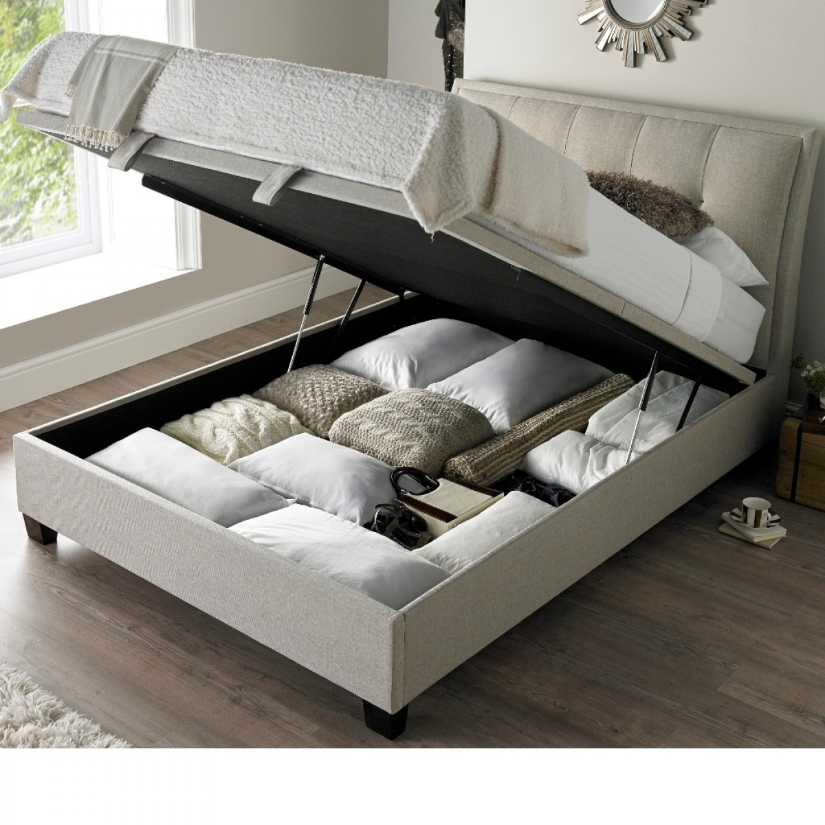 Accent Oatmeal Fabric Ottoman Storage Bed