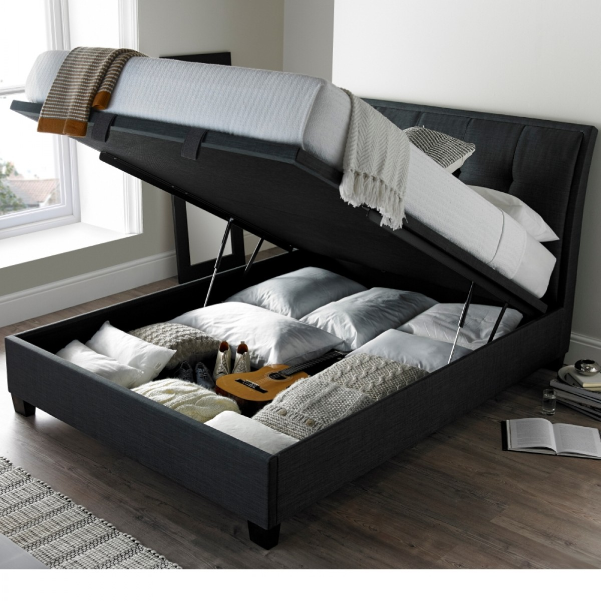 Accent Slate Fabric Ottoman Storage Bed