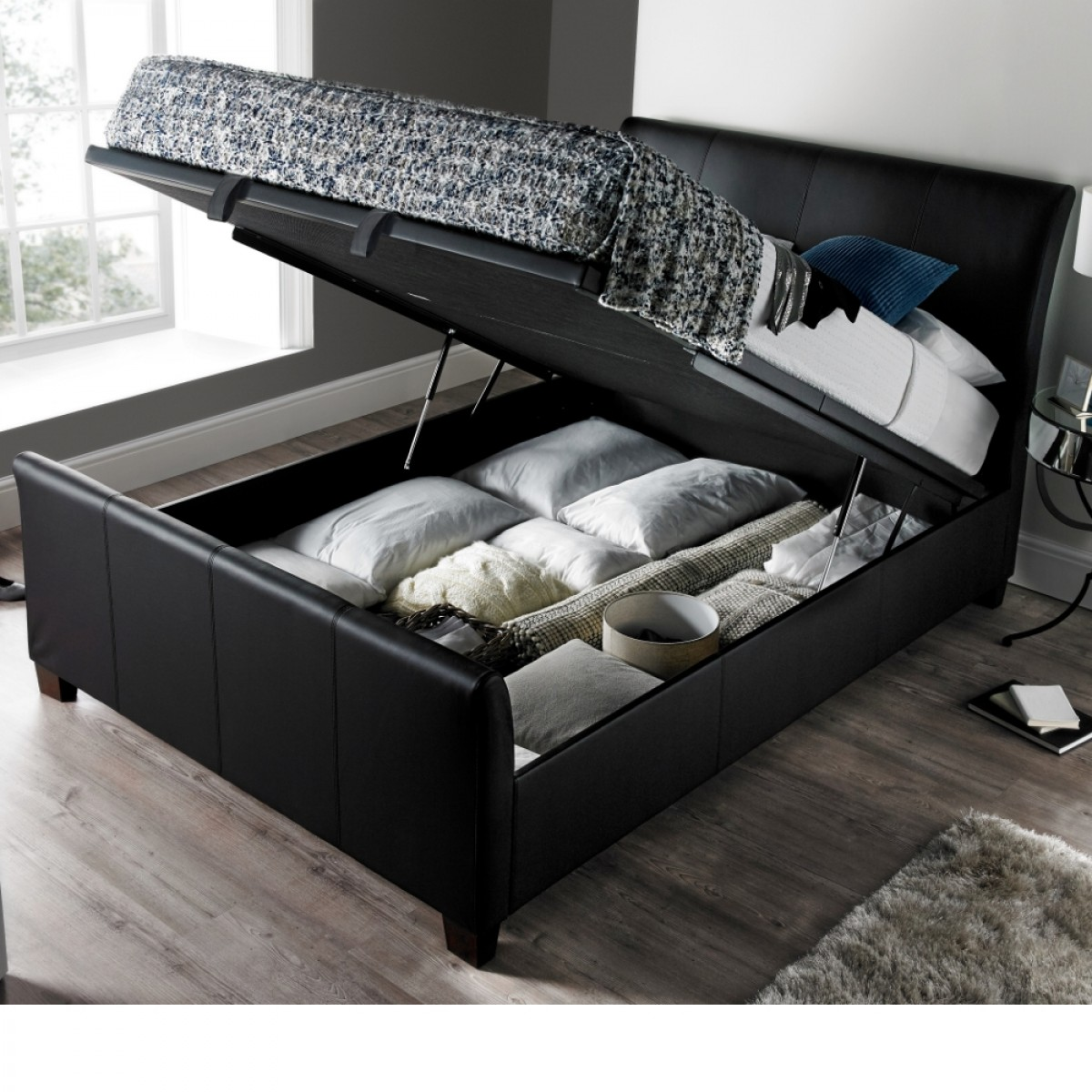 Superb Allendale Black Faux Leather Ottoman Storage Bed Squirreltailoven Fun Painted Chair Ideas Images Squirreltailovenorg