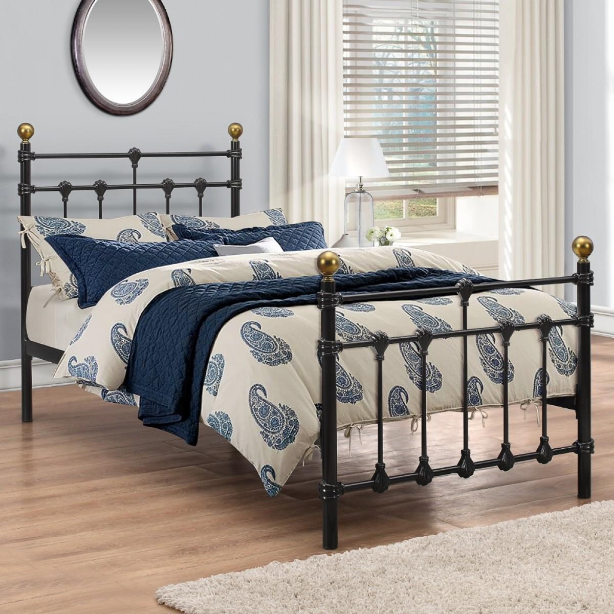Atlas Black Metal Bed