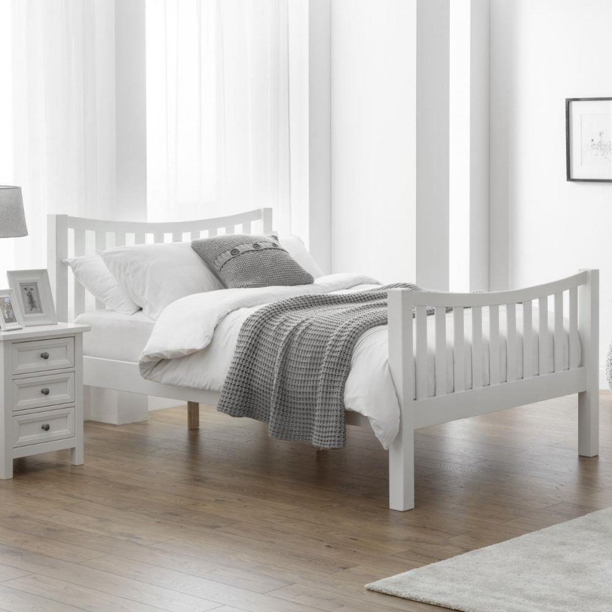 Madison Curved White Wooden Bed