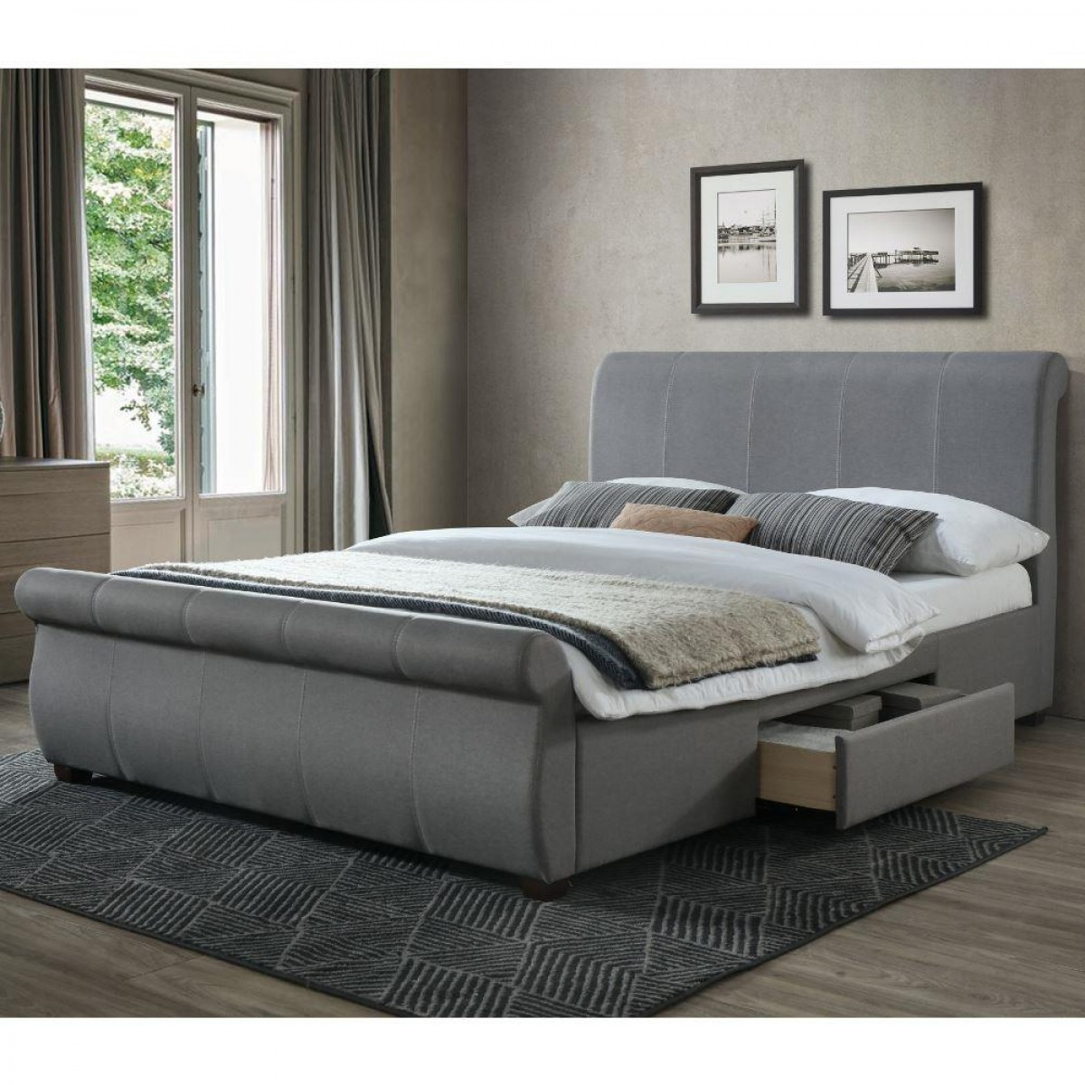 Lancaster Grey Fabric 2 Drawer Storage Bed