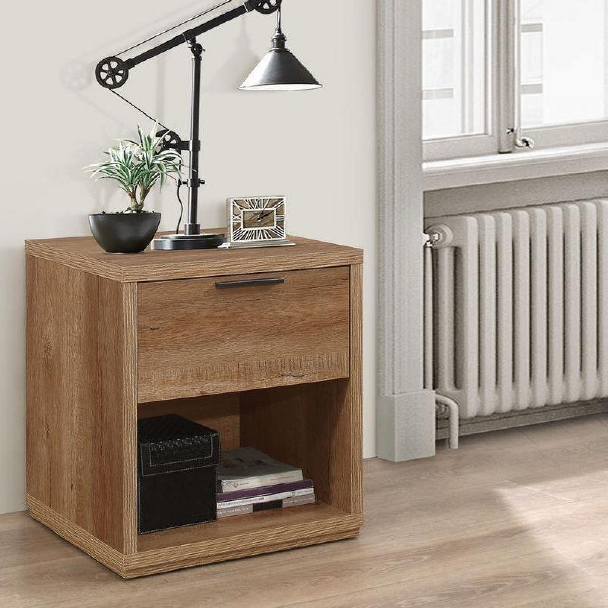 Stockwell Rustic Oak Wooden 1 Drawer Bedside Table