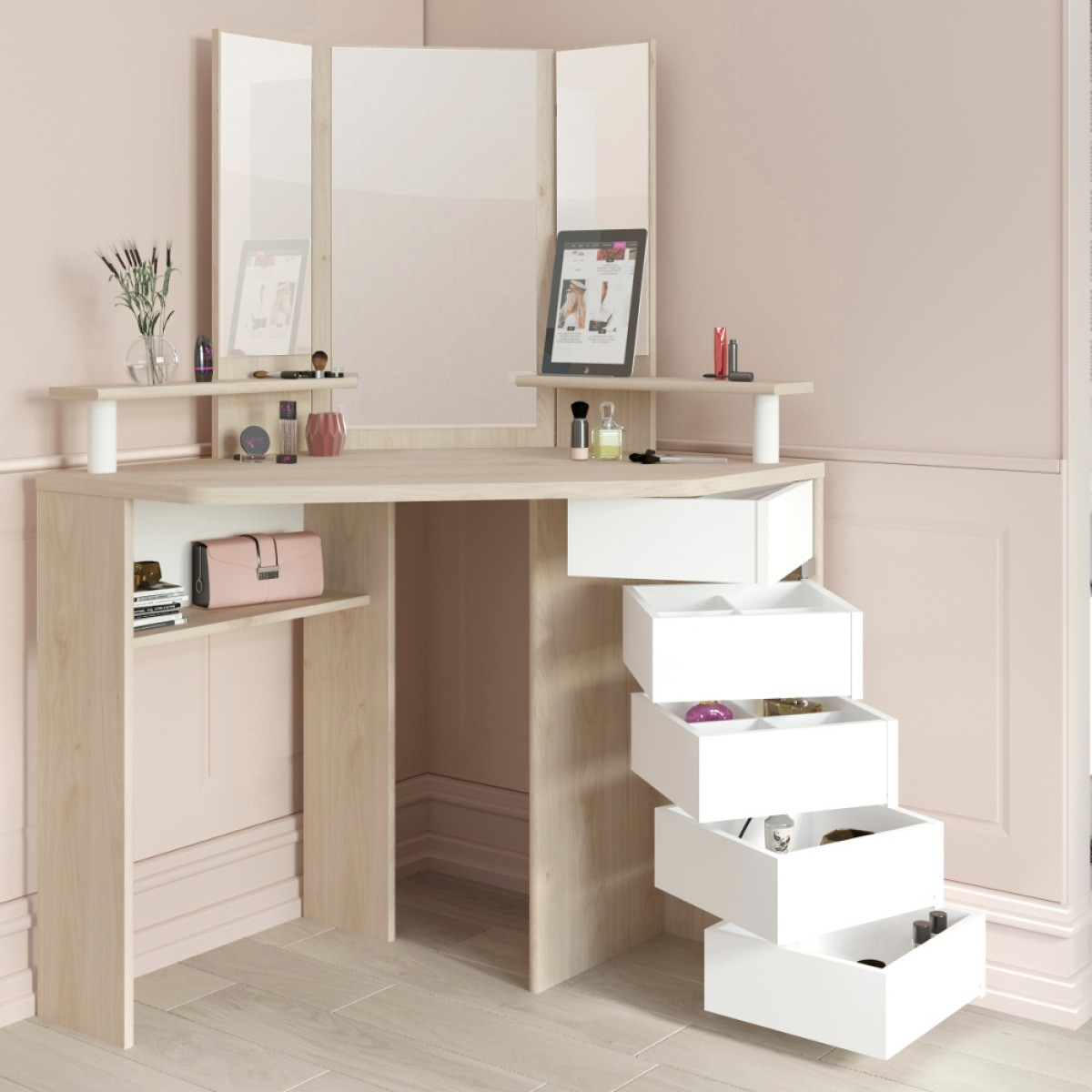 Beauty Bar Corner Dressing Table Oak and White