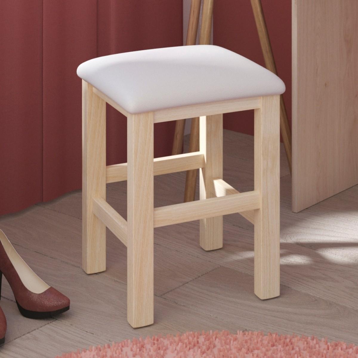 Beauty Bar Dressing Table Stool Oak and White
