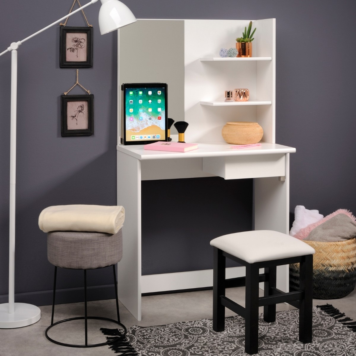 Beauty Bar Compact Dressing Table White