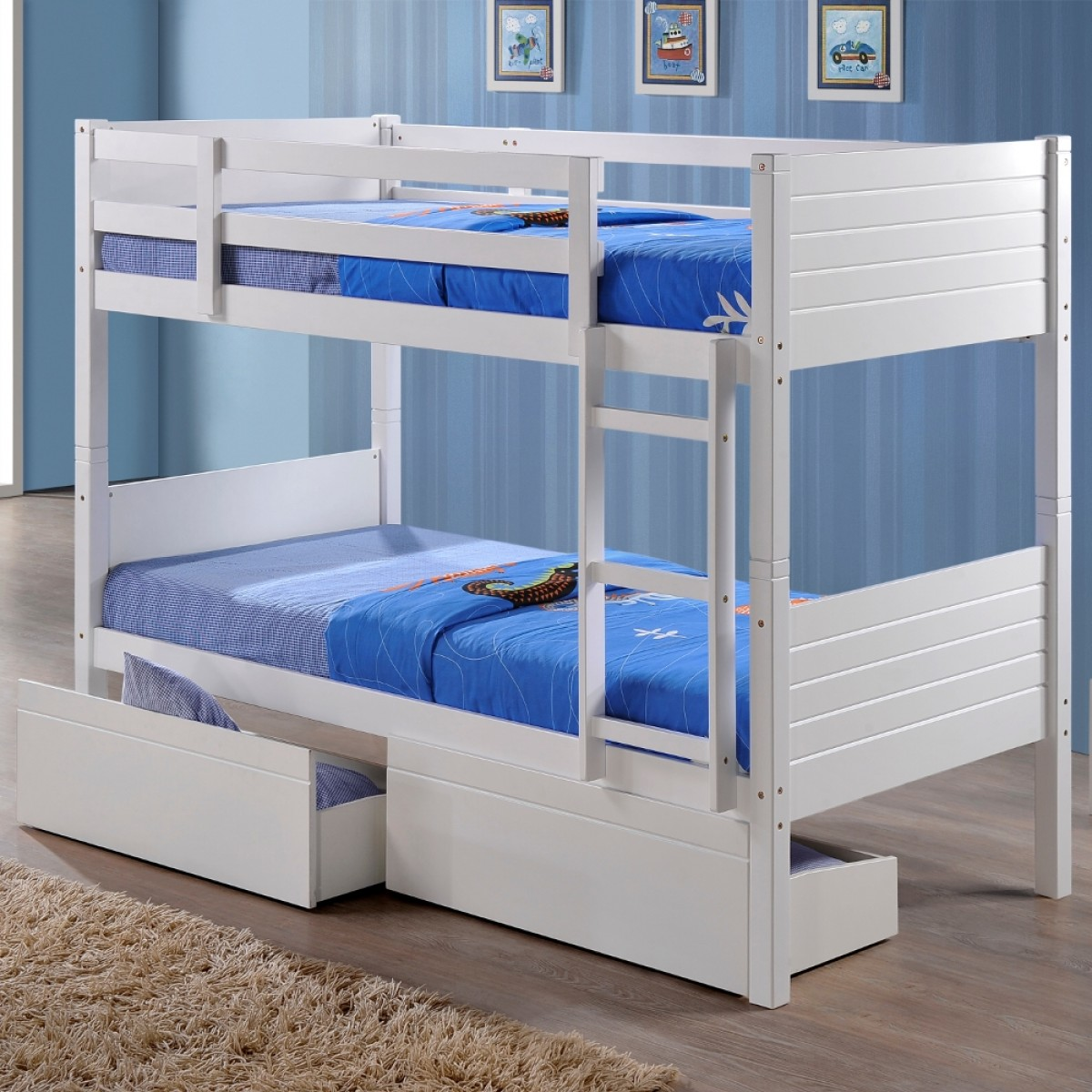 Bedford White Wooden 2 Drawer Storage Bunk Bed