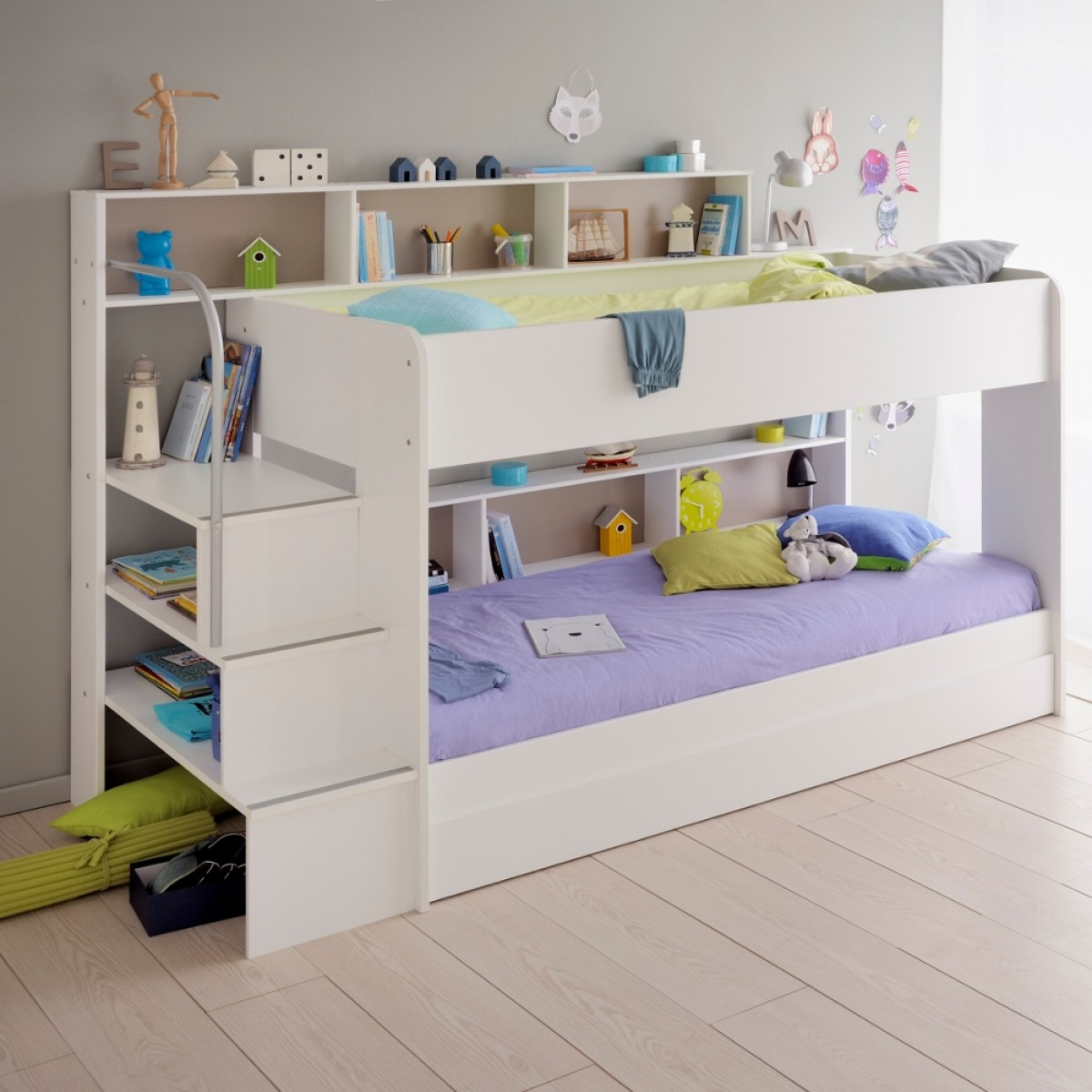 Bibop White Wooden Bunk Bed with Underbed Storage Drawer