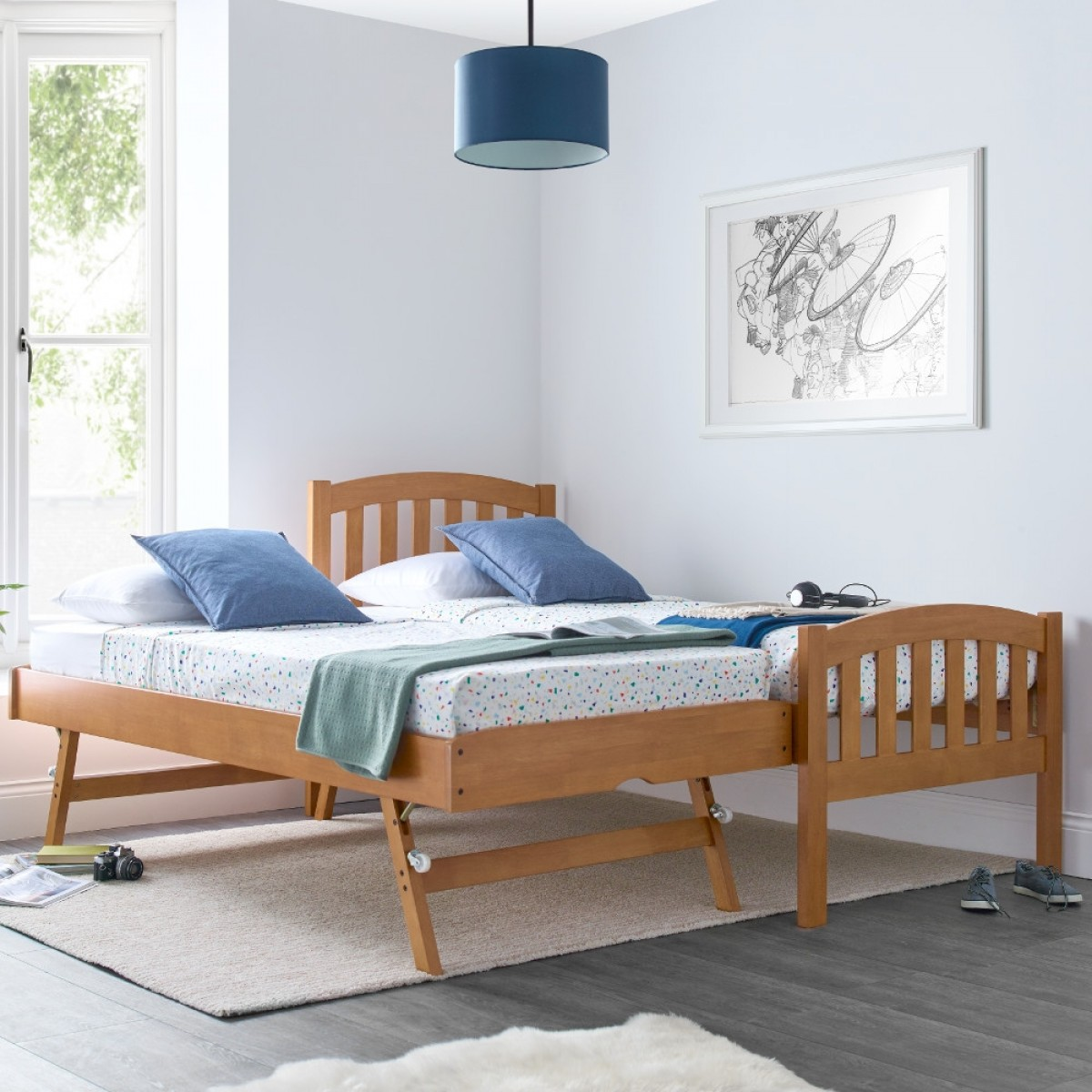 Blake Oak Wooden Guest Bed and Trundle