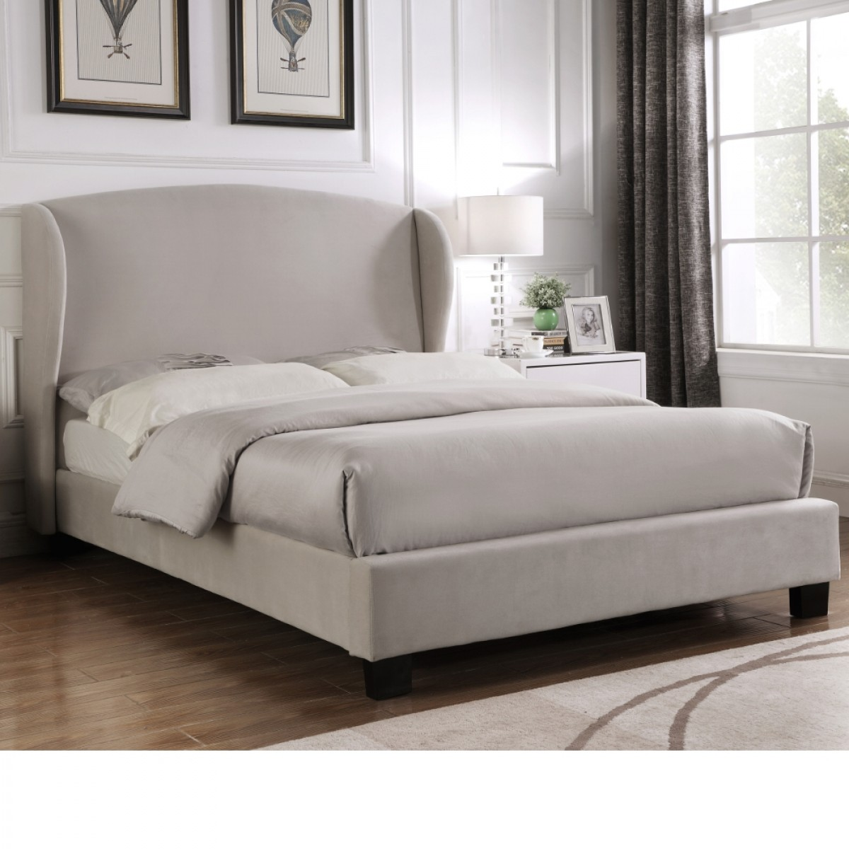 Blenheim Light Grey Velvet Fabric Winged Bed
