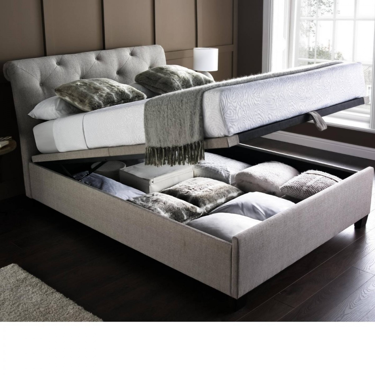 Brunswick Fabric Ottoman Storage Bed