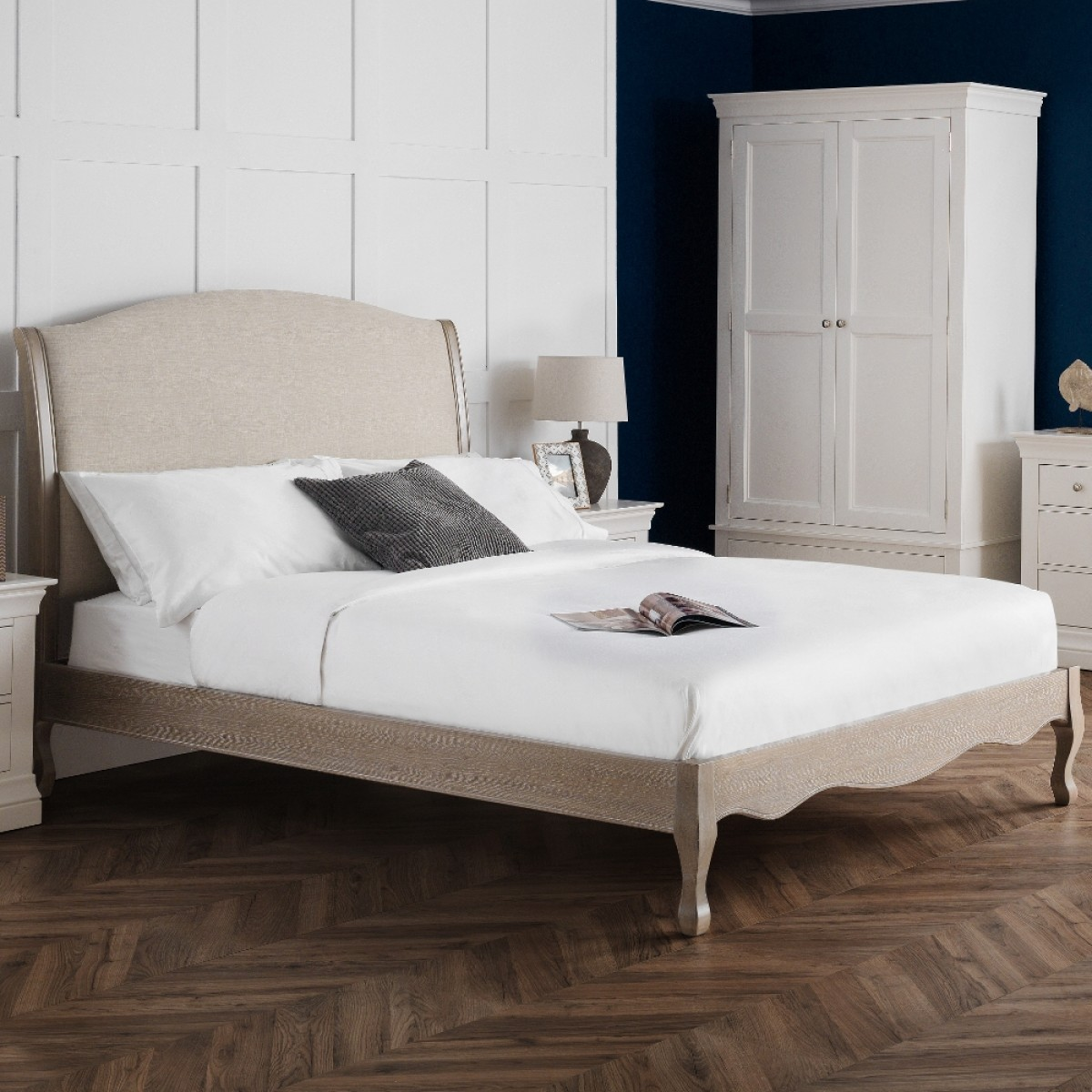 Camille Oatmeal Fabric and Oak Wooden Bed