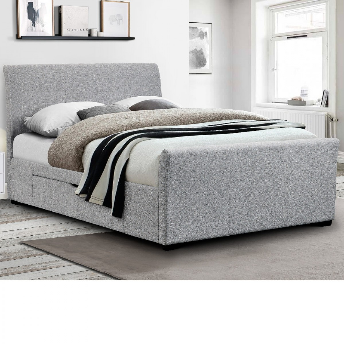 Capri Light Grey Fabric 2 Drawer Storage Sleigh Bed