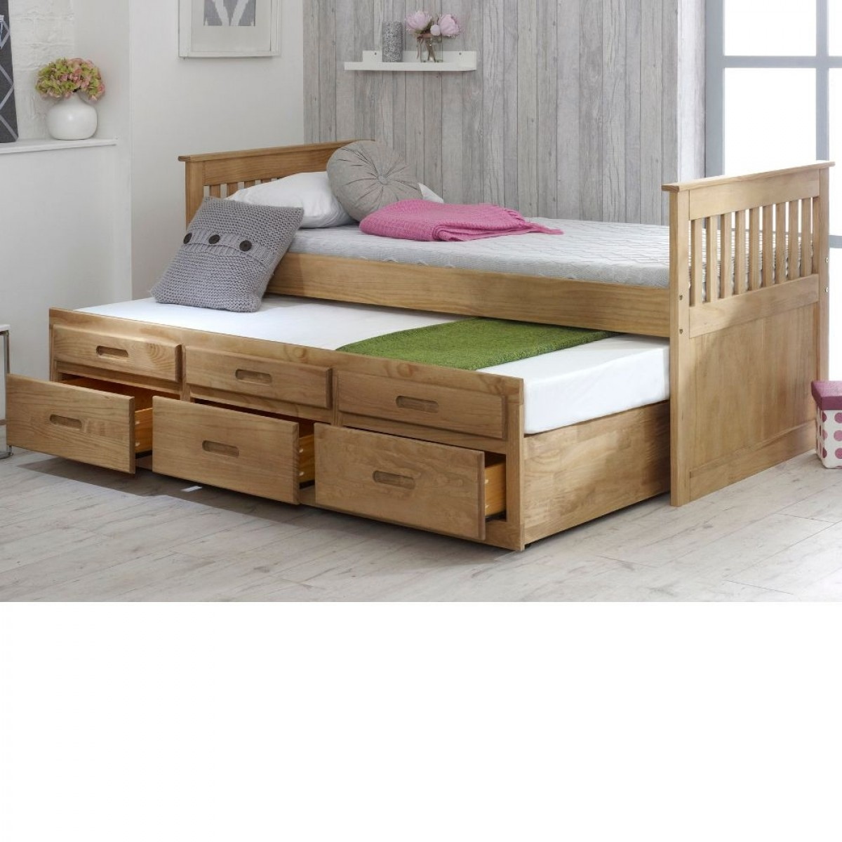 Captains Waxed Pine Wooden Guest Bed