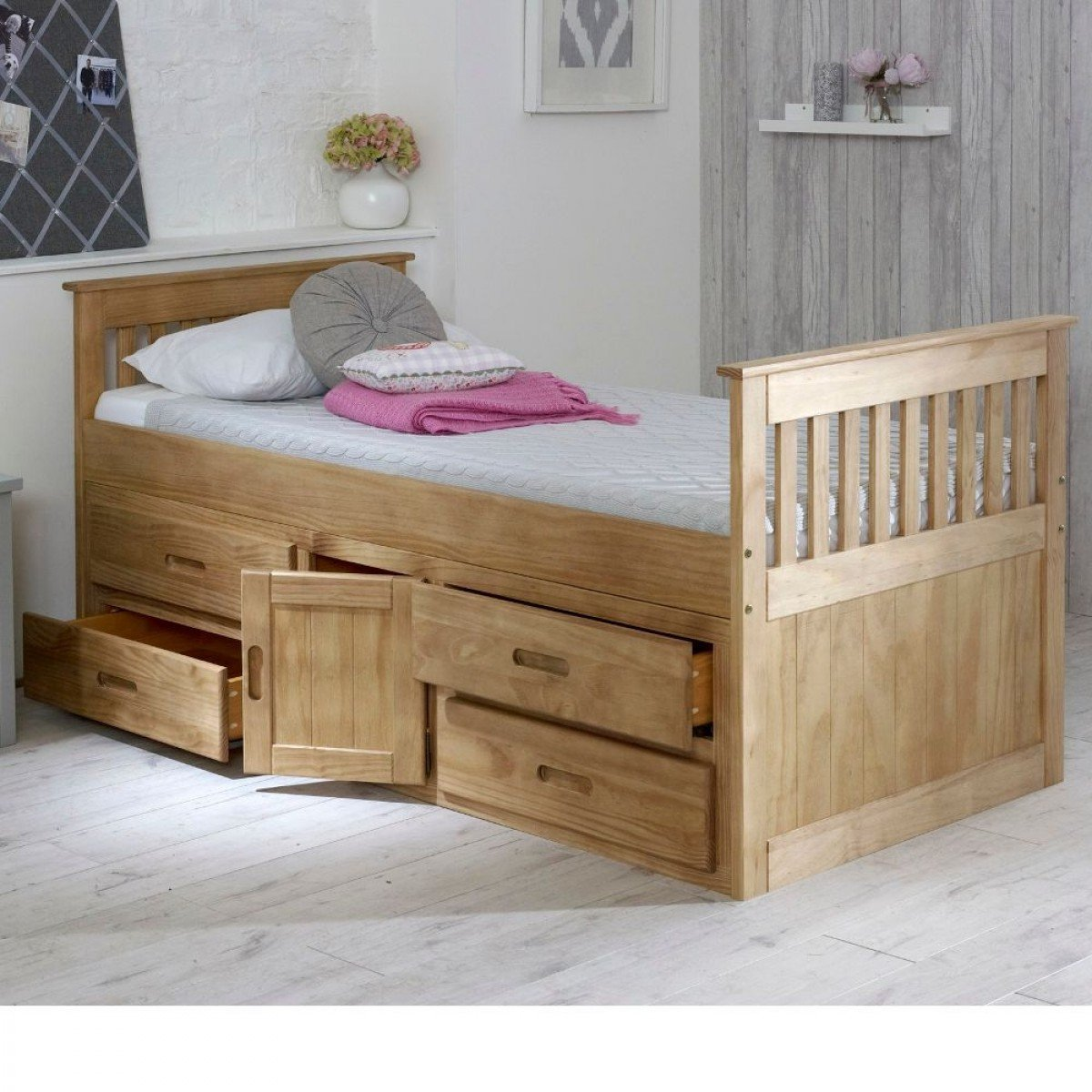 Captains Waxed Pine Wooden Storage Bed