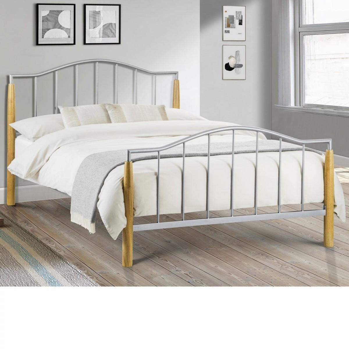 Carmel Aluminium and Oak Metal Bed