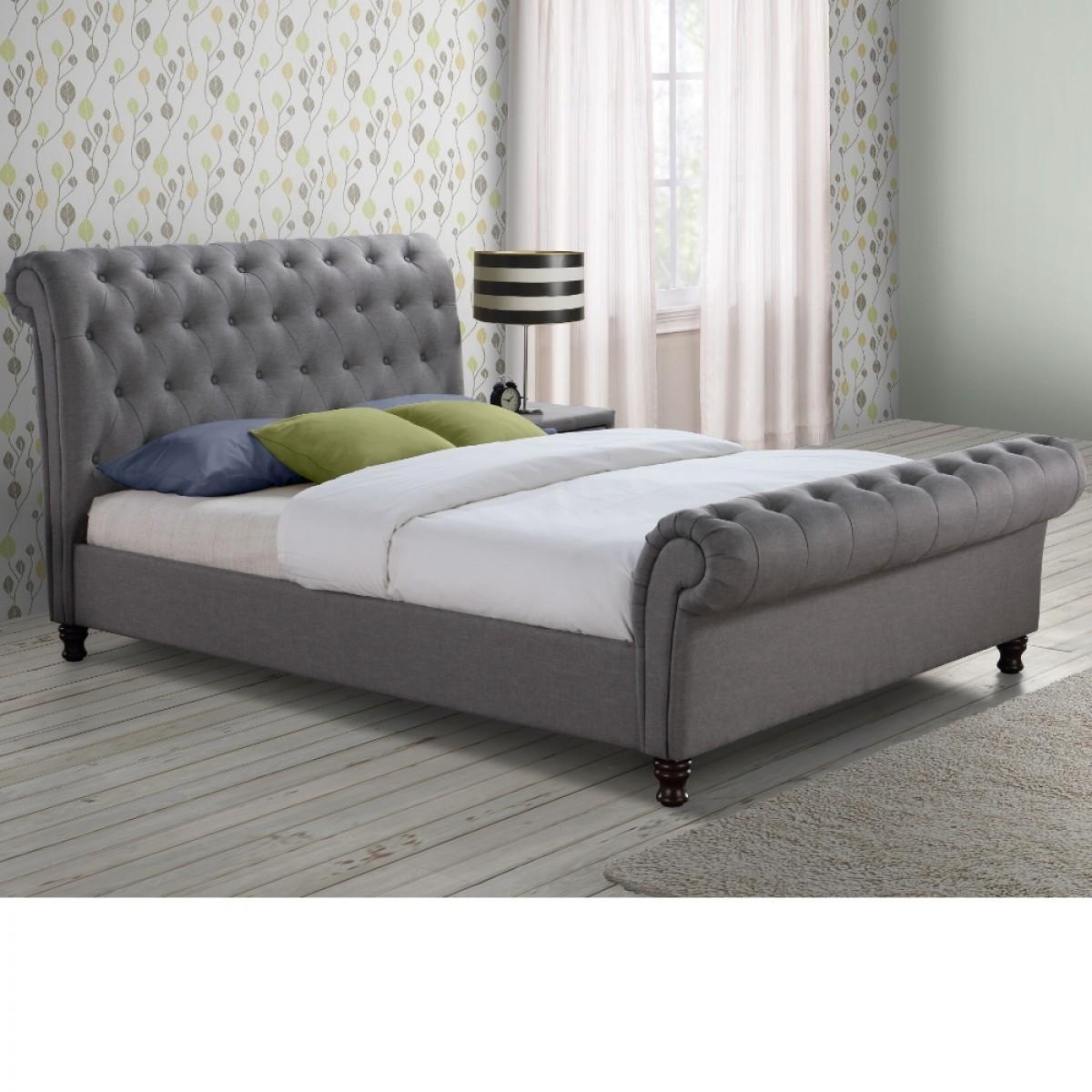 Castello Grey Fabric Scroll Sleigh Bed