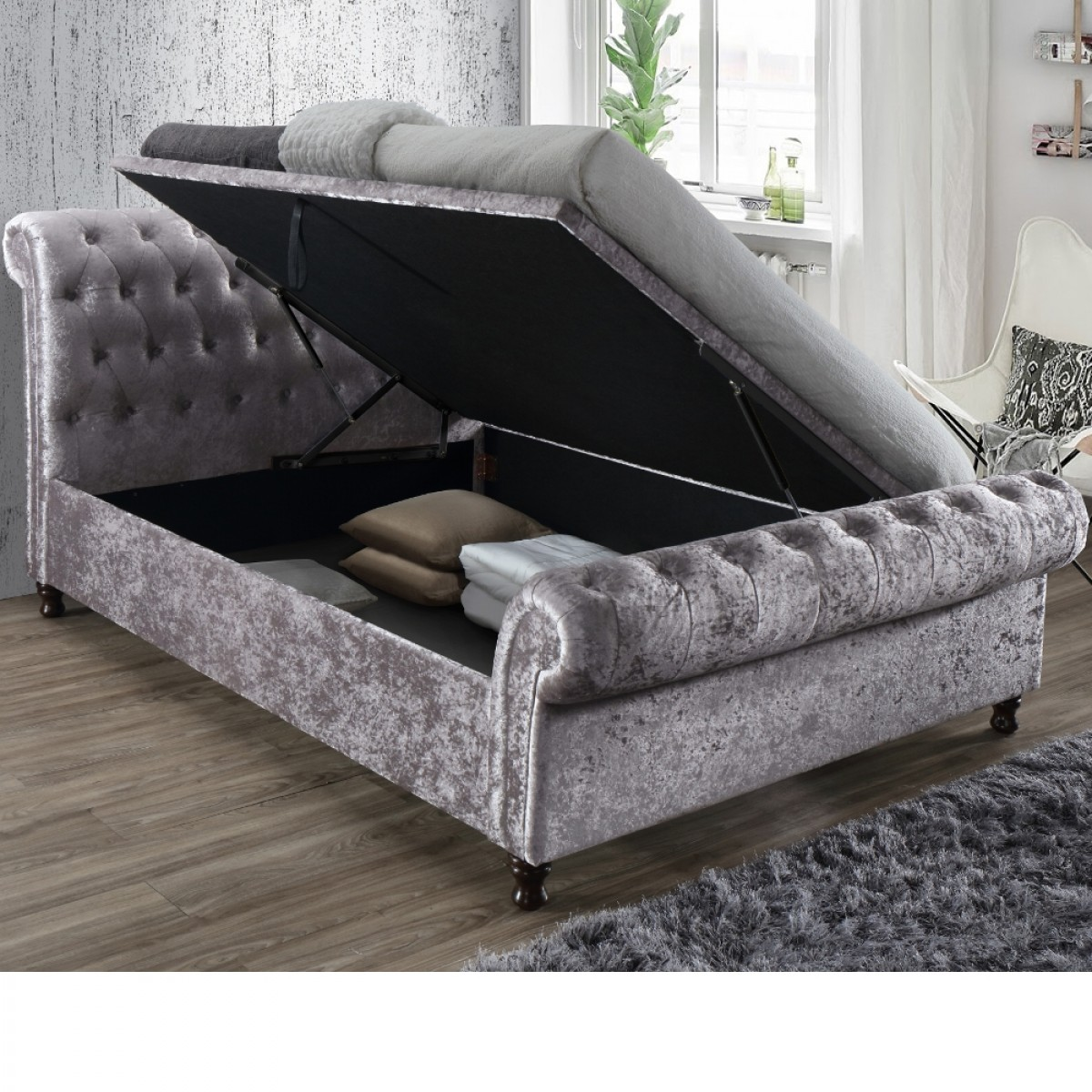 Castello Steel Fabric Ottoman Scroll Sleigh Bed