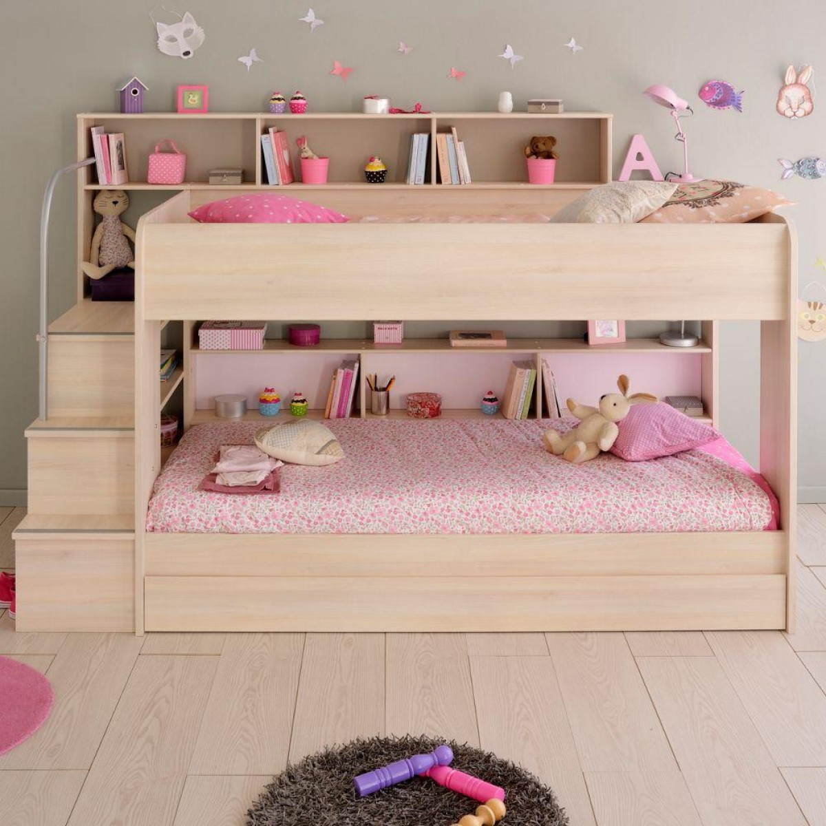 Bibop Acacia Wooden Bunk Bed with Underbed Storage Drawer