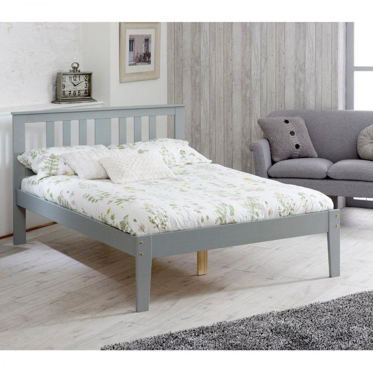 Kingston Grey Wooden Bed