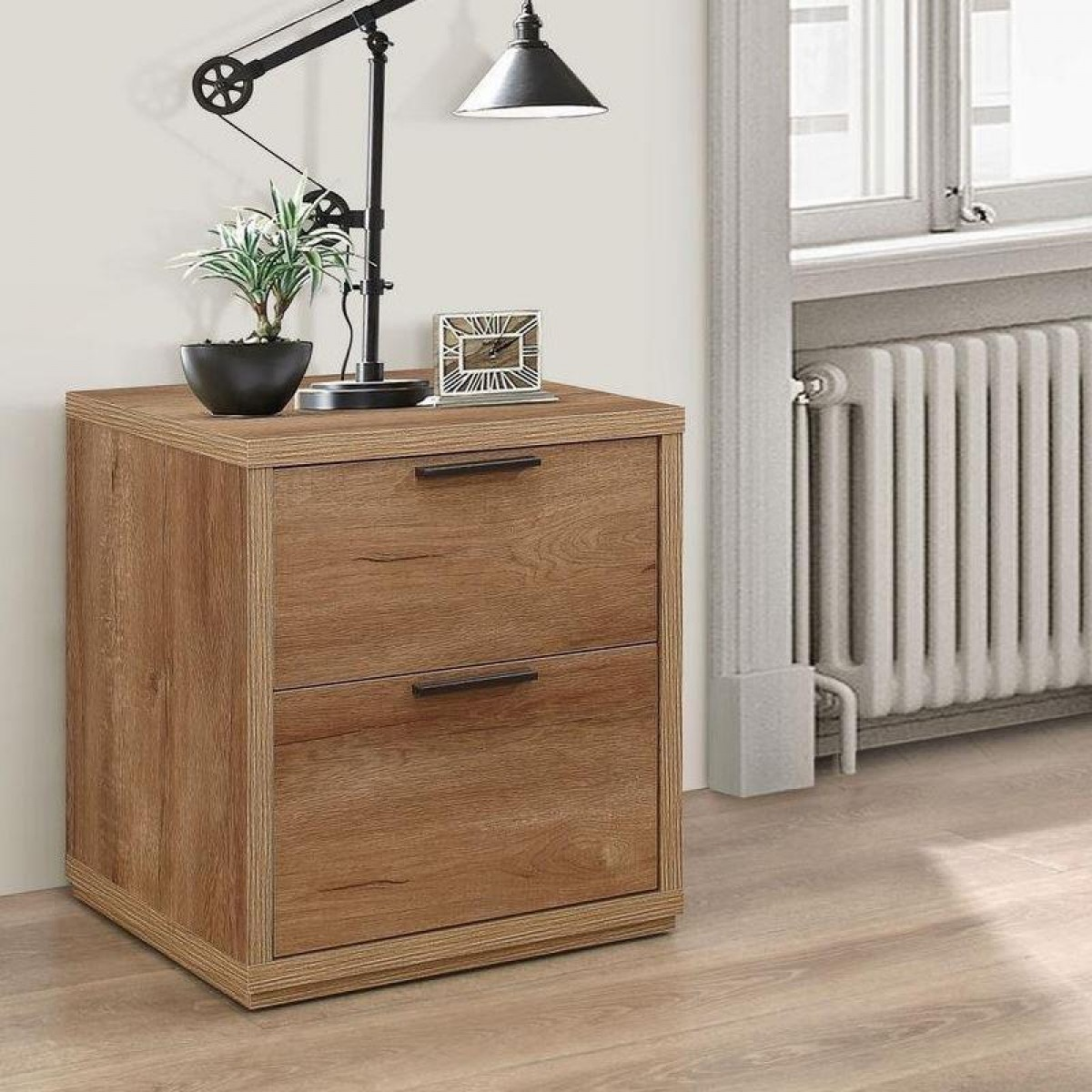 Stockwell Rustic Oak Wooden 2 Drawer Bedside Table