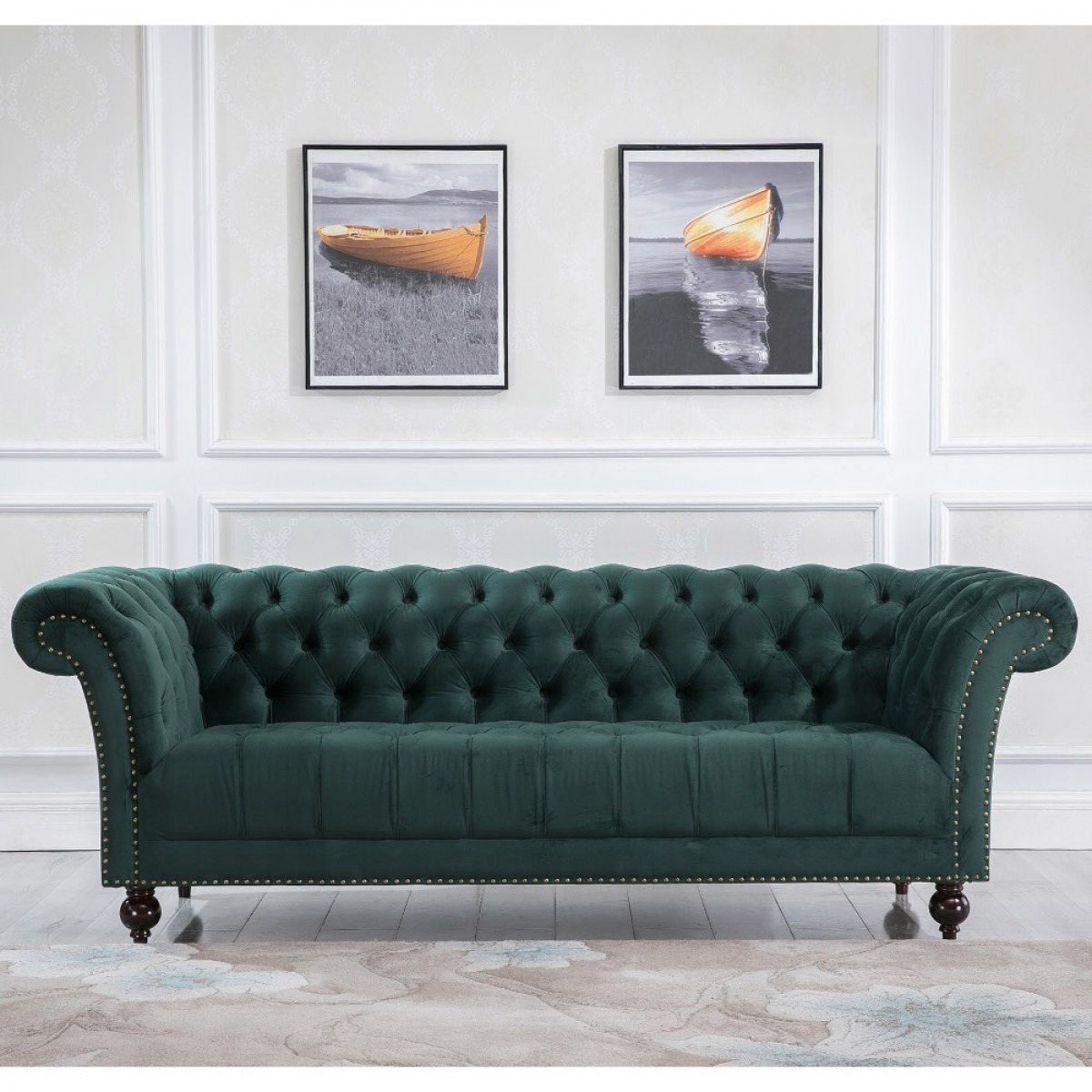 Chester Green Fabric 3 Seater Sofa