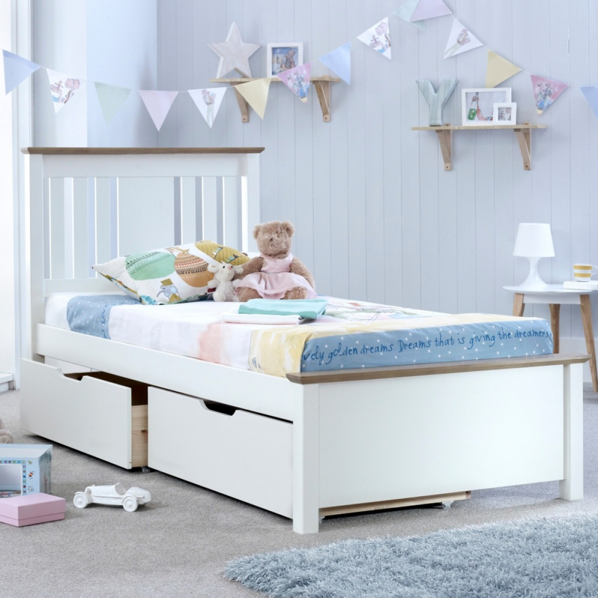 Chester Solo White and Oak Wooden Bed