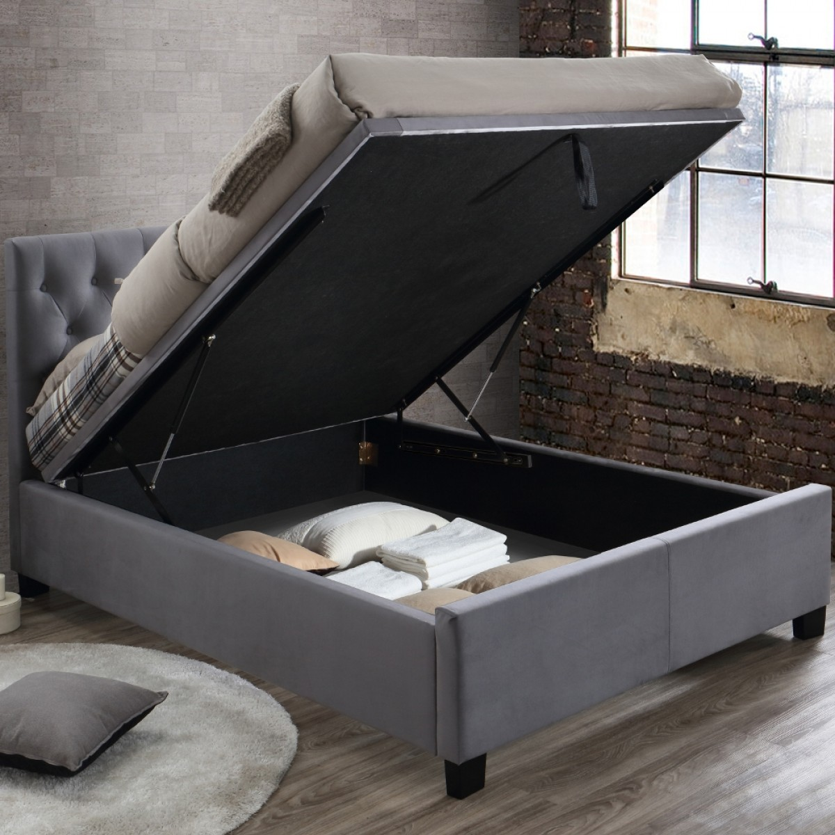 Cologne Grey Fabric Ottoman Storage Bed