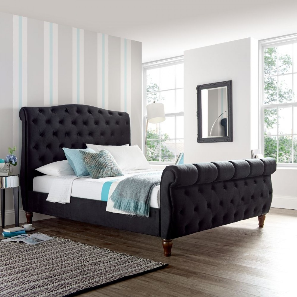 Colorado Black Velvet Fabric Sleigh Bed