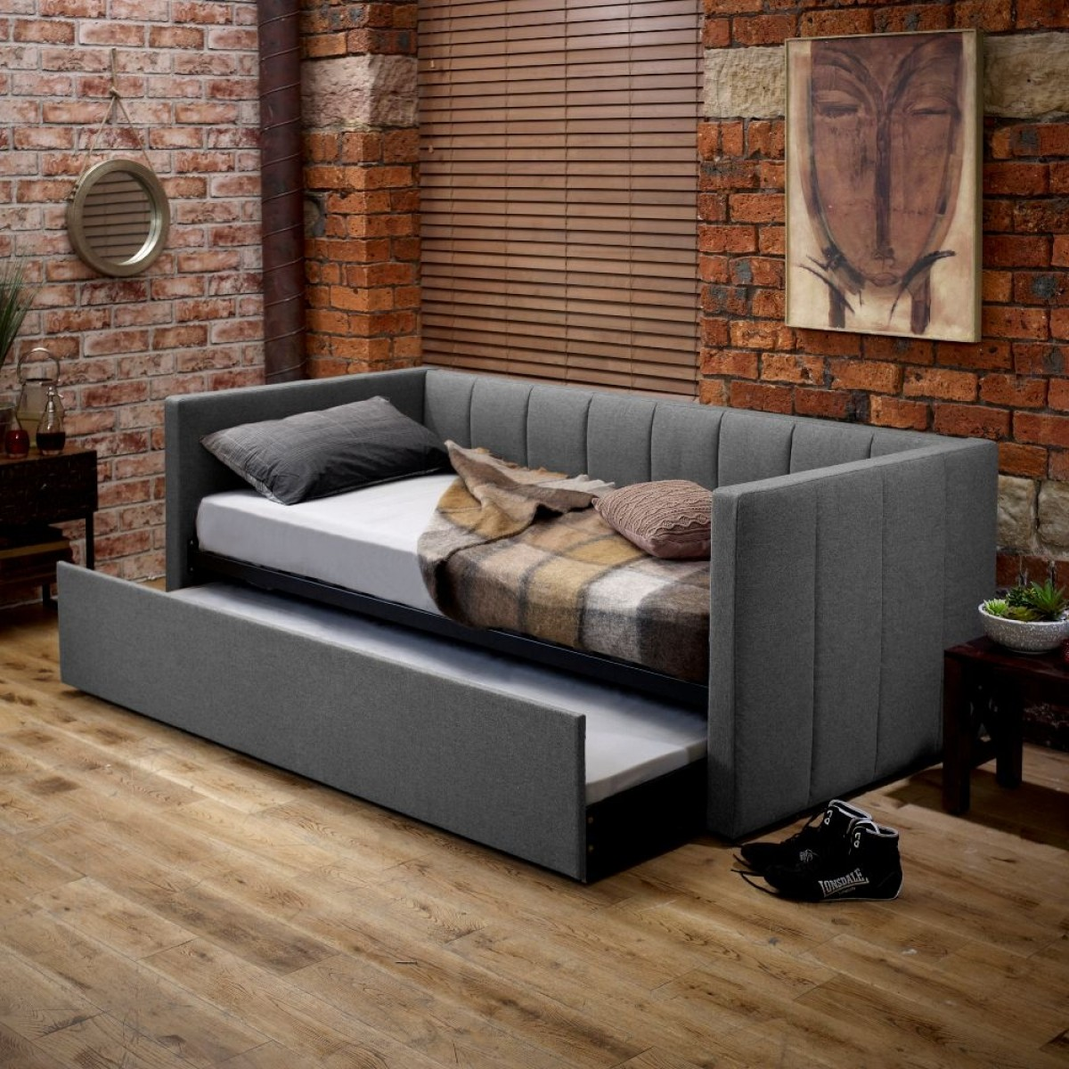 Cooper Grey Fabric Guest Bed