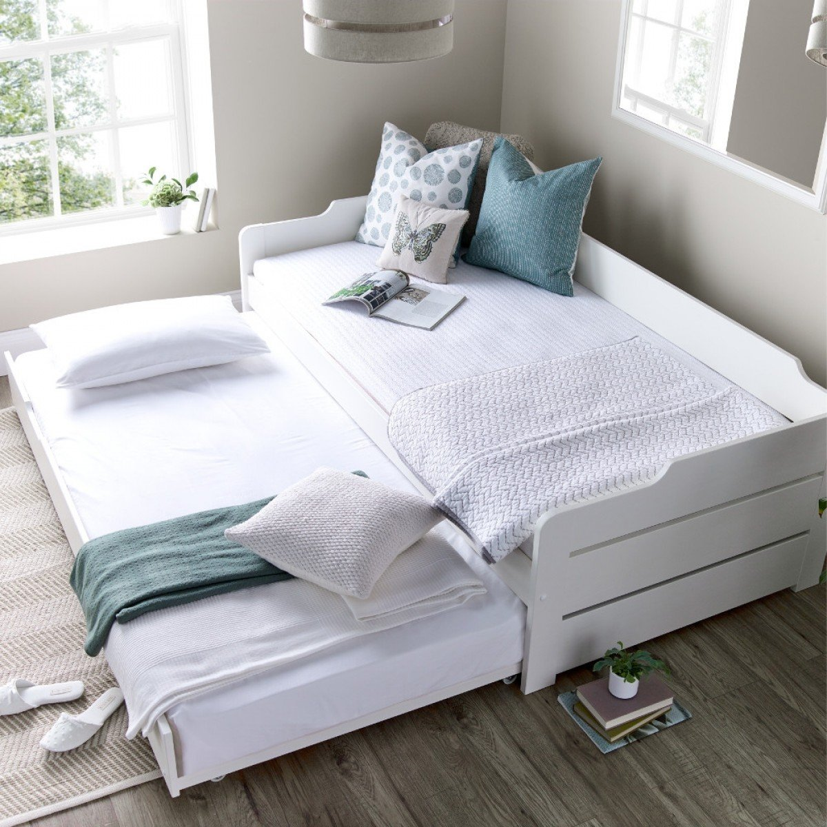 Copella White Wooden Day Bed with Guest Bed