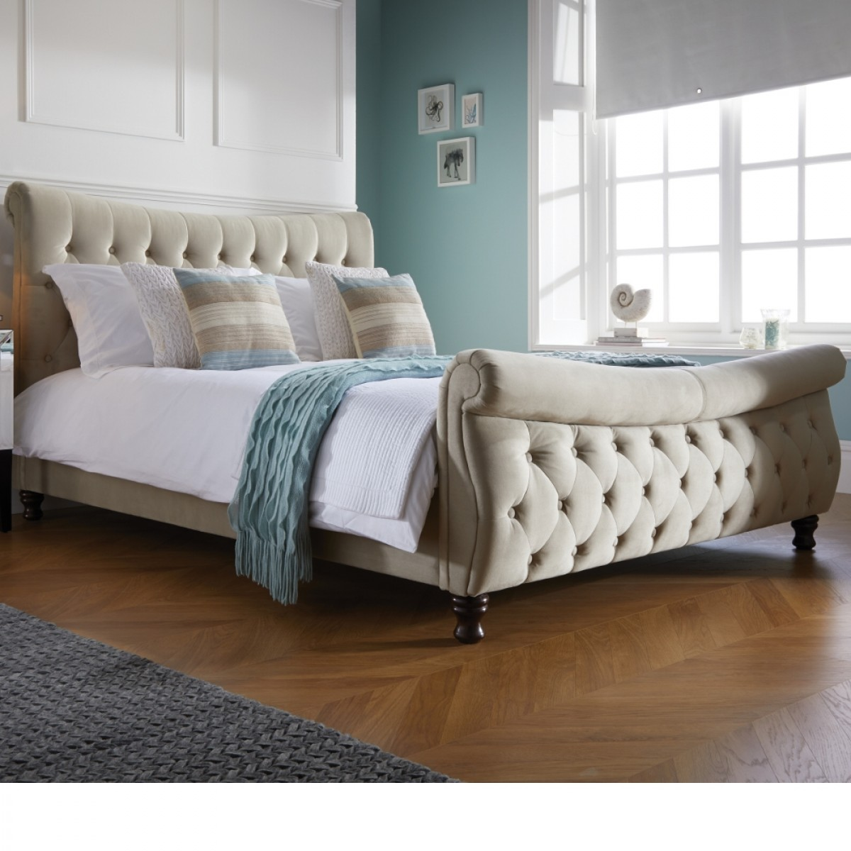Copenhagen Warm Stone Fabric Scroll Sleigh Bed