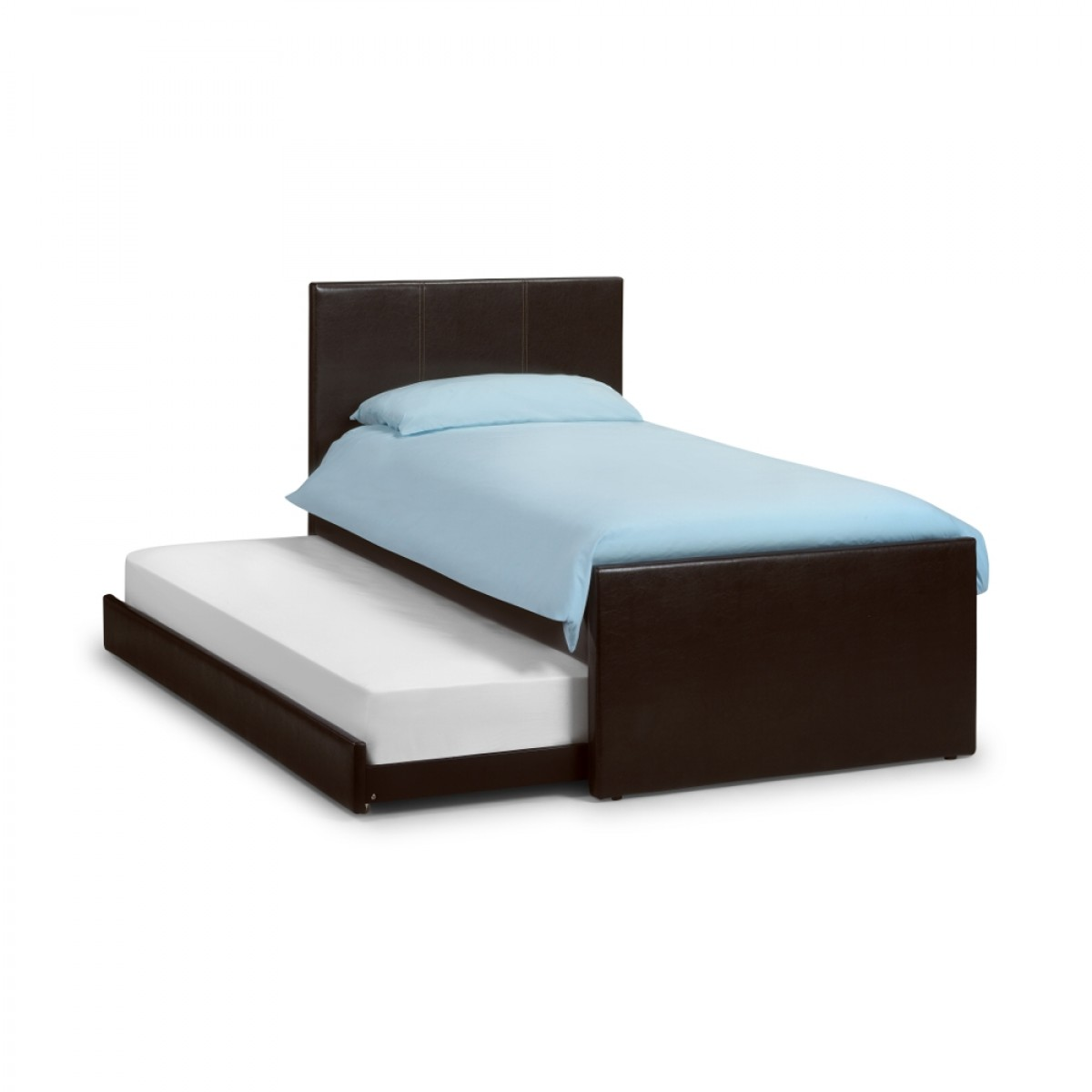 Cosmo Brown Leather Guest Bed and Trundle - 3ft Single