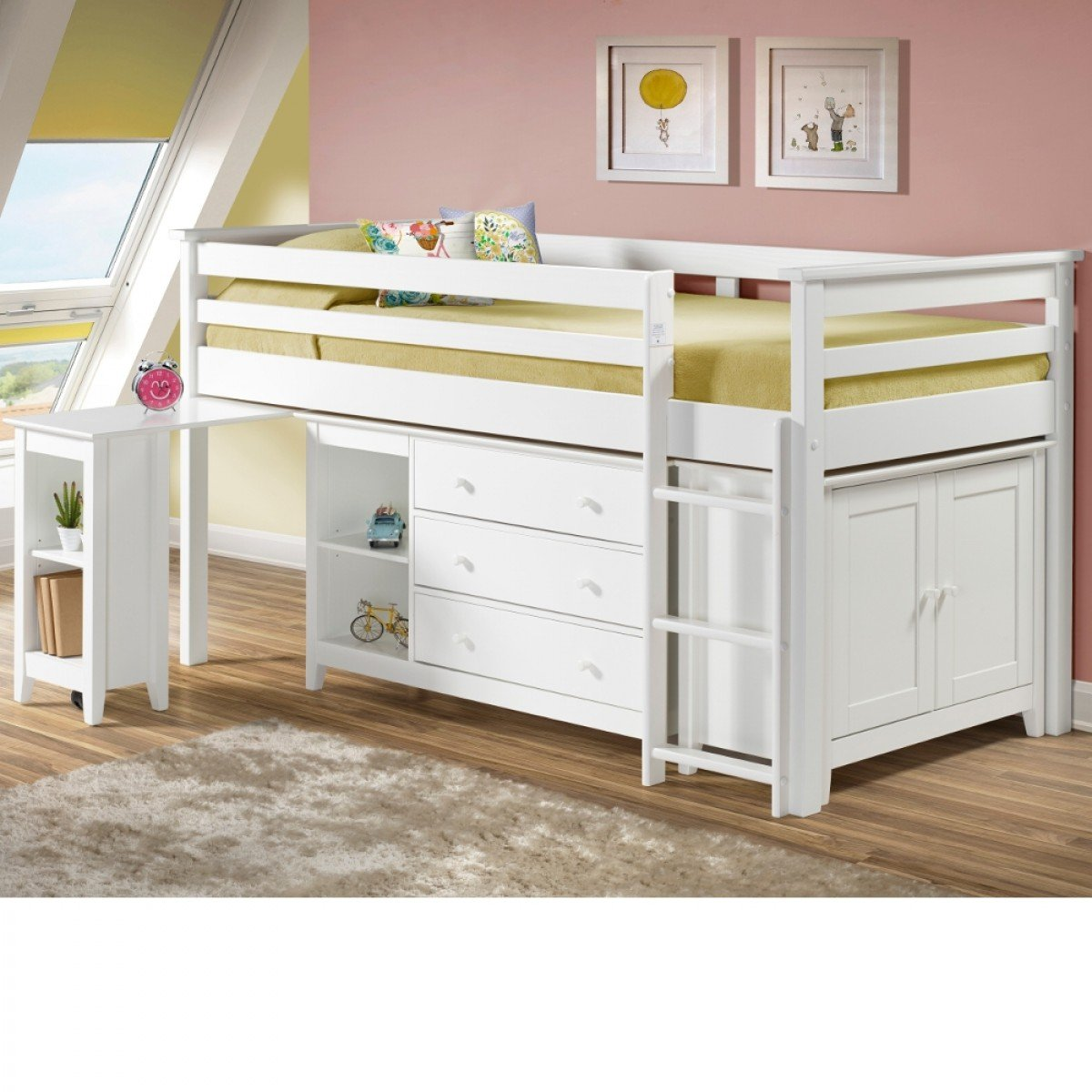 Cotswold White Finish Solid Pine Wooden Kids Mid Sleeper Sleep Station Desk Cabin Storage Bed