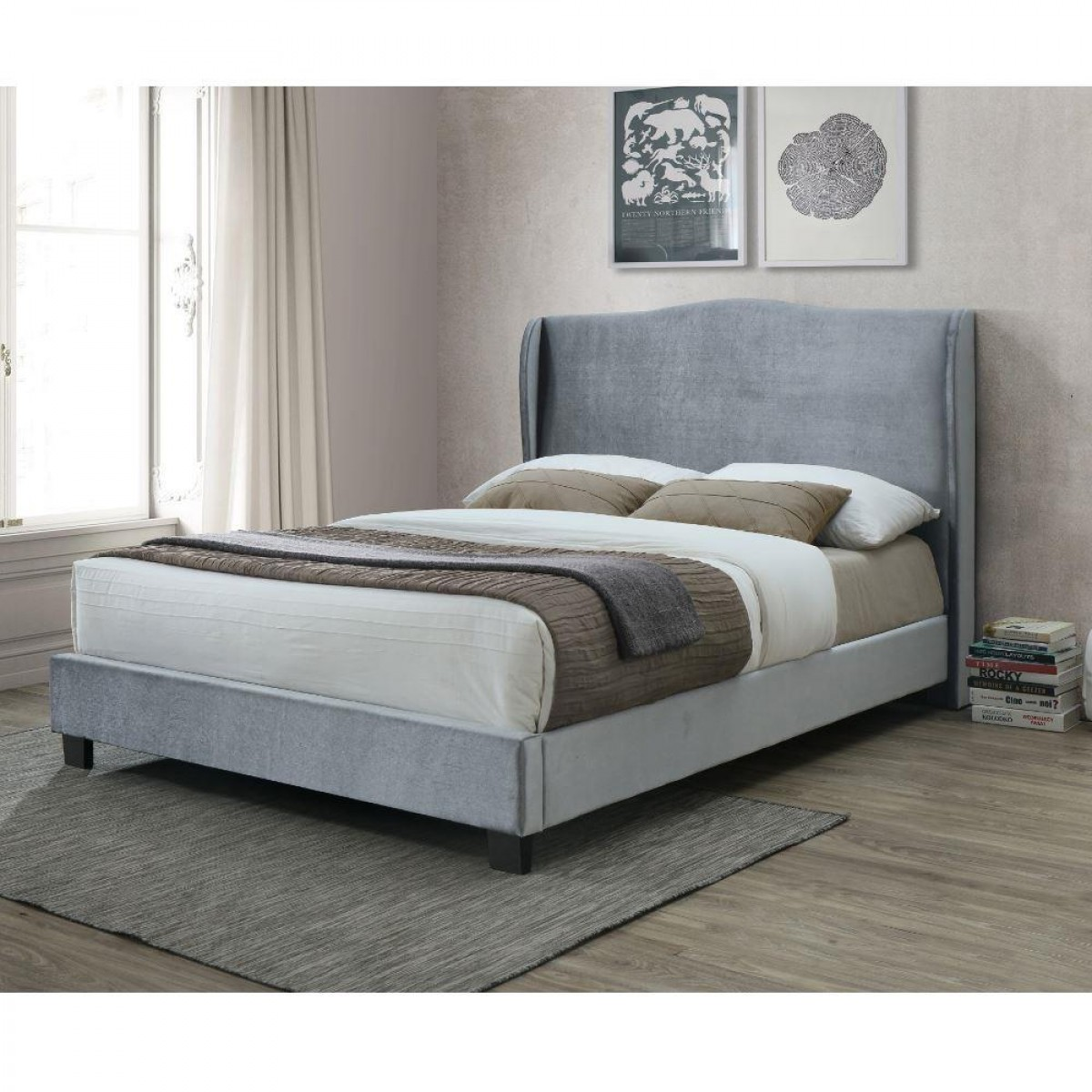 Dover Silver Velvet Fabric Winged Bed